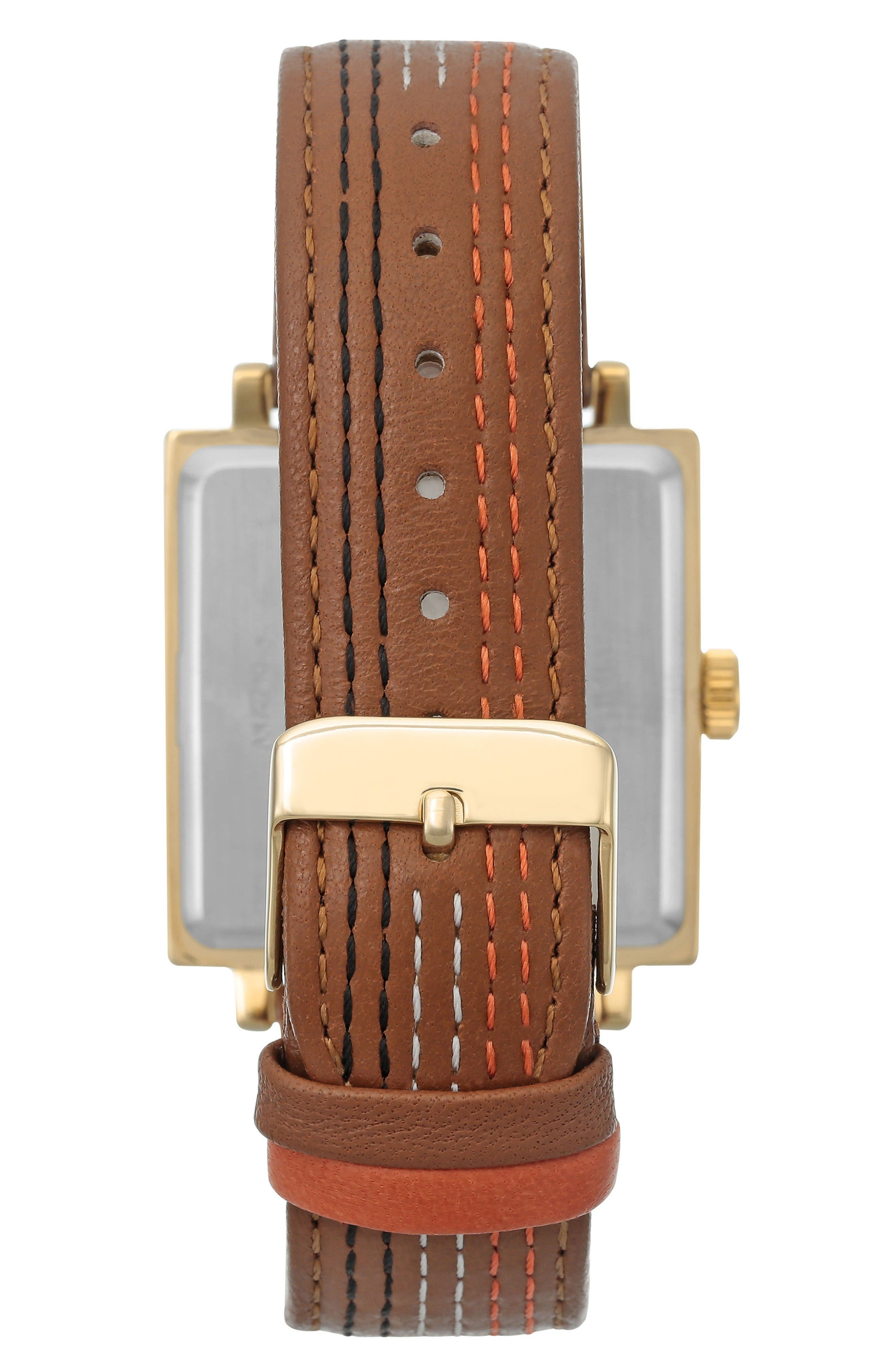 Square Leather Strap Watch, 42mm x 34mm,                             Alternate thumbnail 2, color,                             Brown Stitched/ Gold