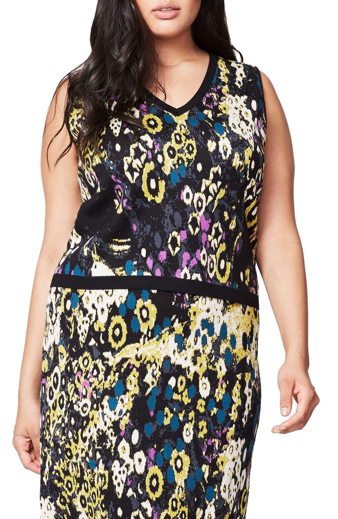 RACHEL Rachel Roy V-Neck Jacquard Knit Top (Plus Size)