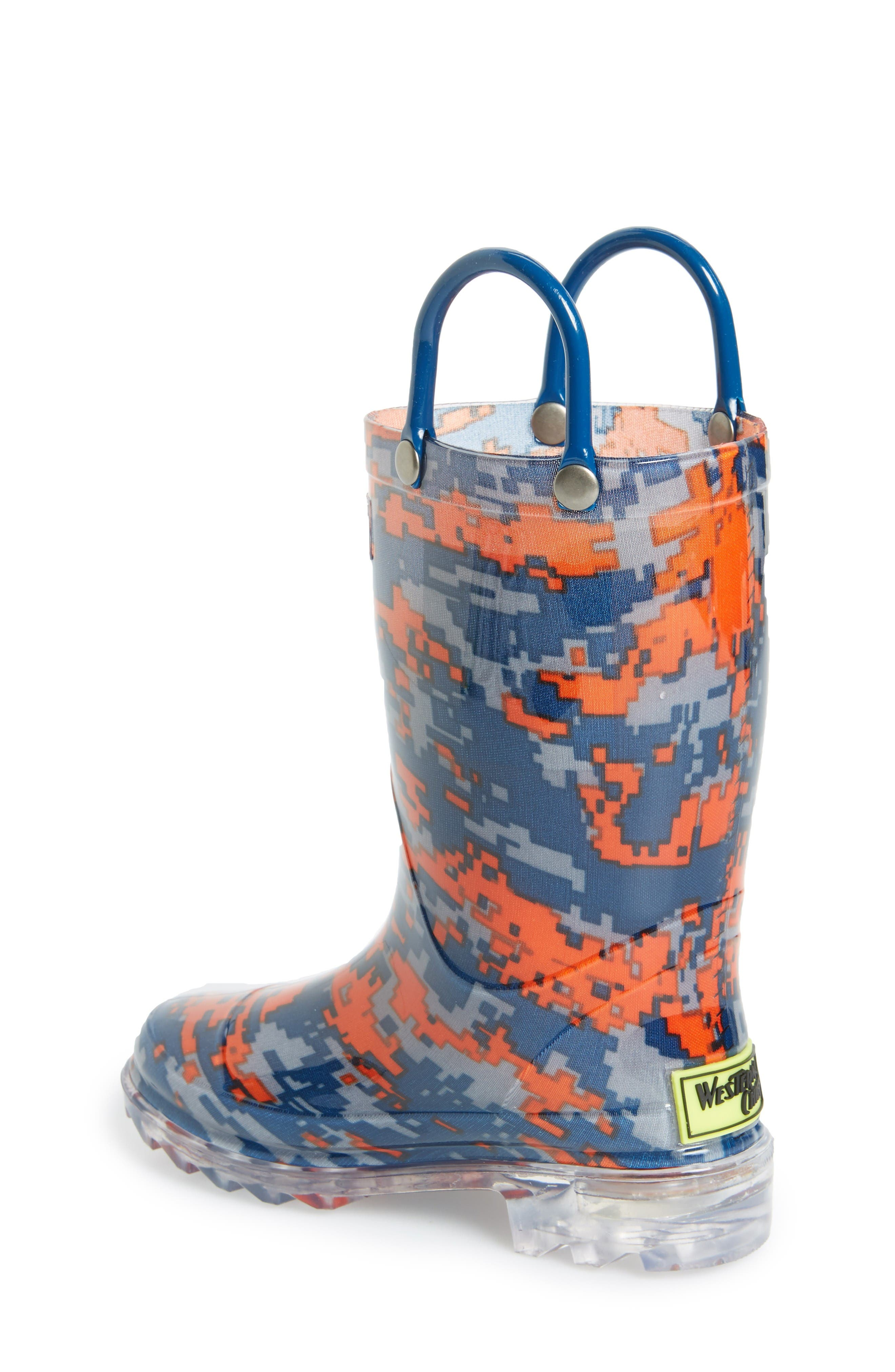 Digital Camo Light-Up Rain Boot,                             Alternate thumbnail 2, color,                             Navy
