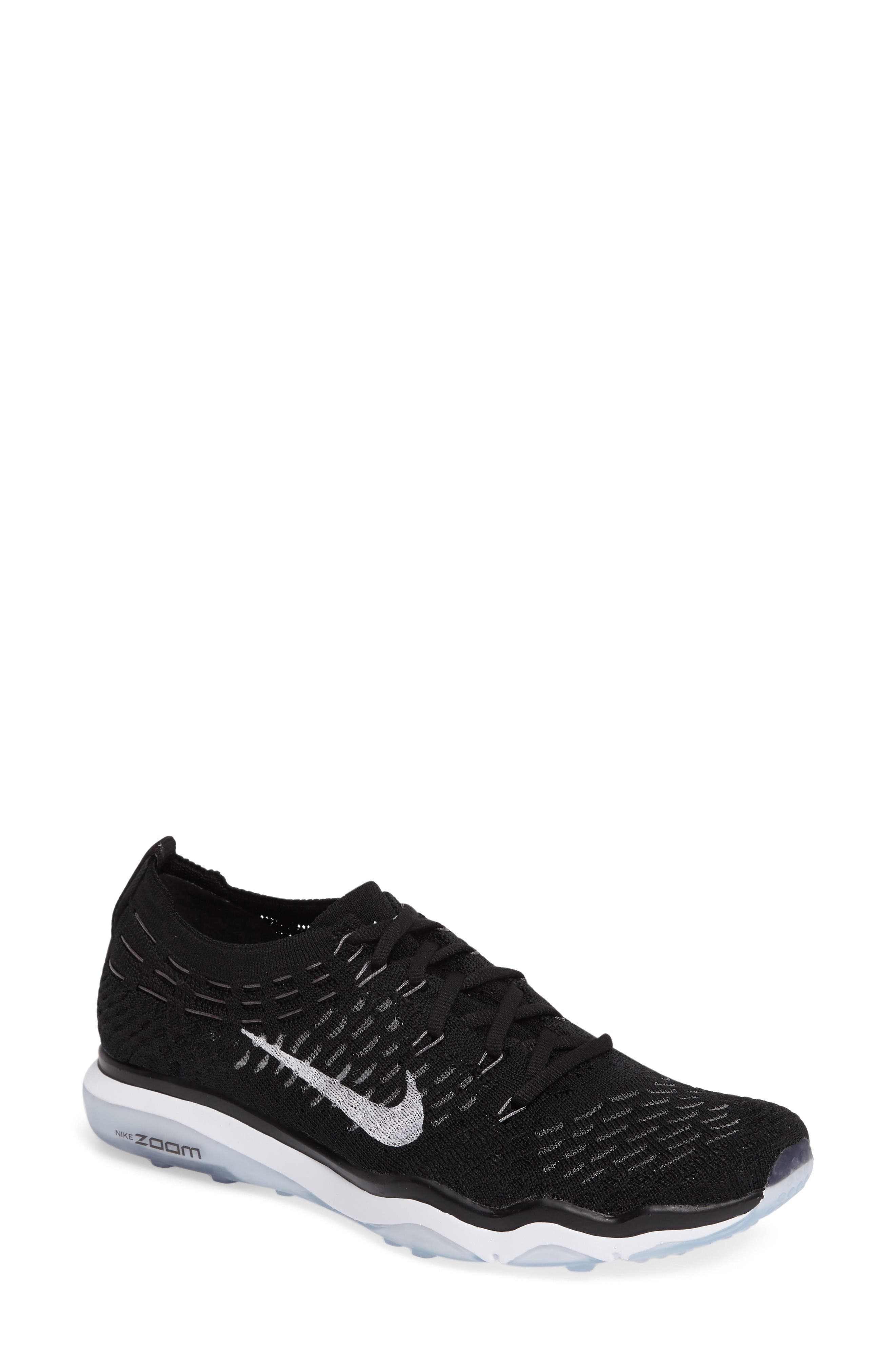 Air Zoom Fearless Flyknit Training Shoe,                         Main,                         color, Black/ White
