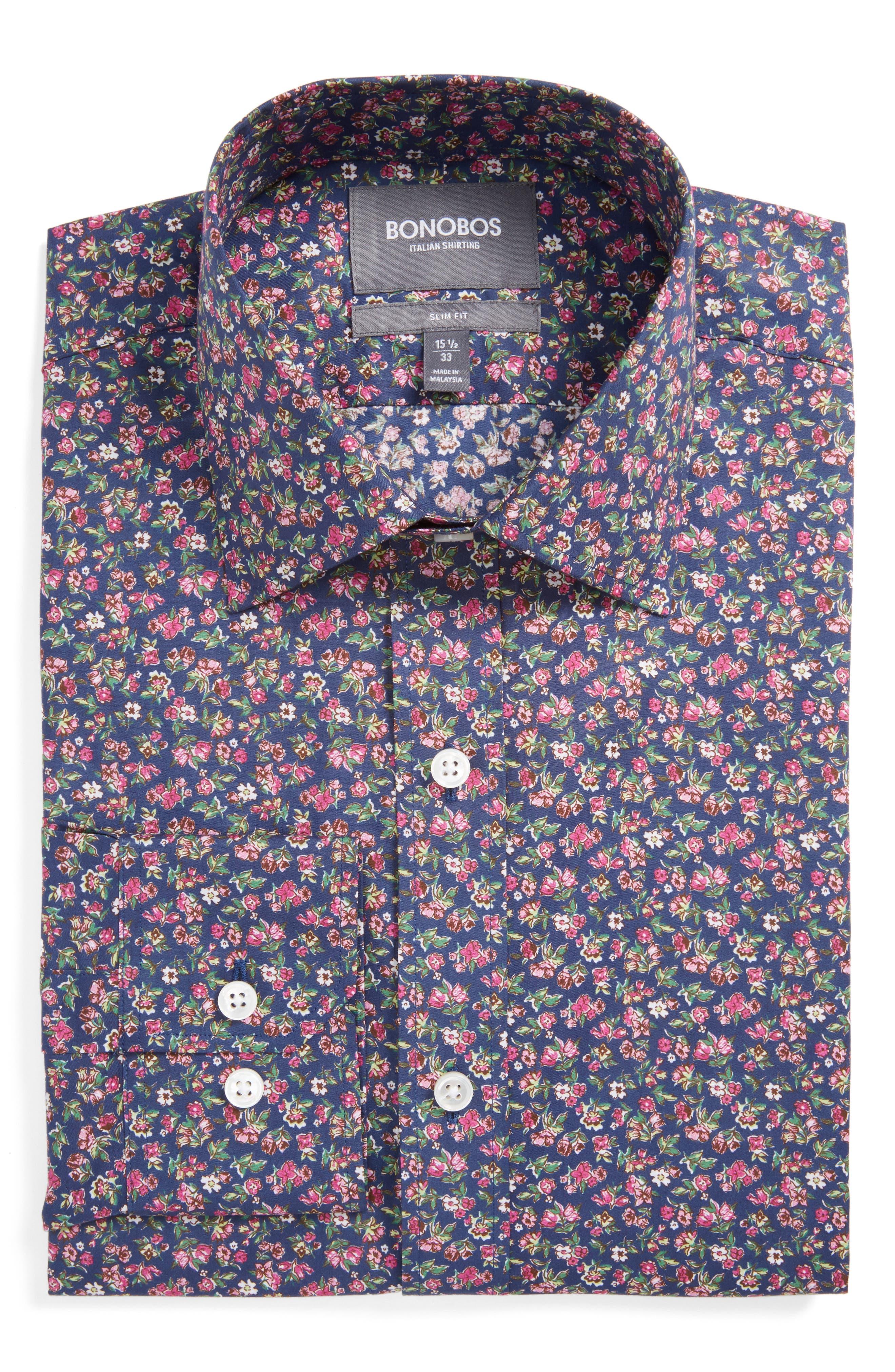 Main Image - Bonobos Americano Slim Fit Floral Dress Shirt