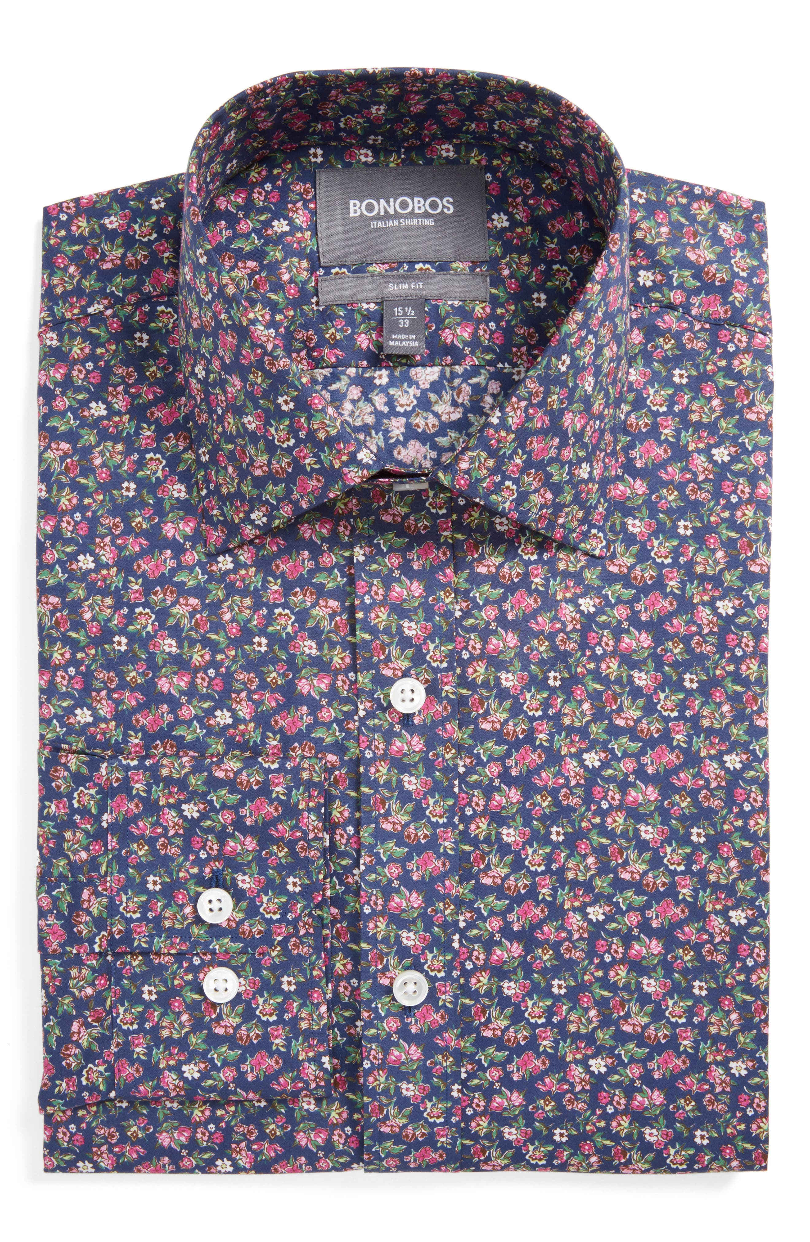 Americano Slim Fit Floral Dress Shirt,                         Main,                         color, Pink Kistler Floral