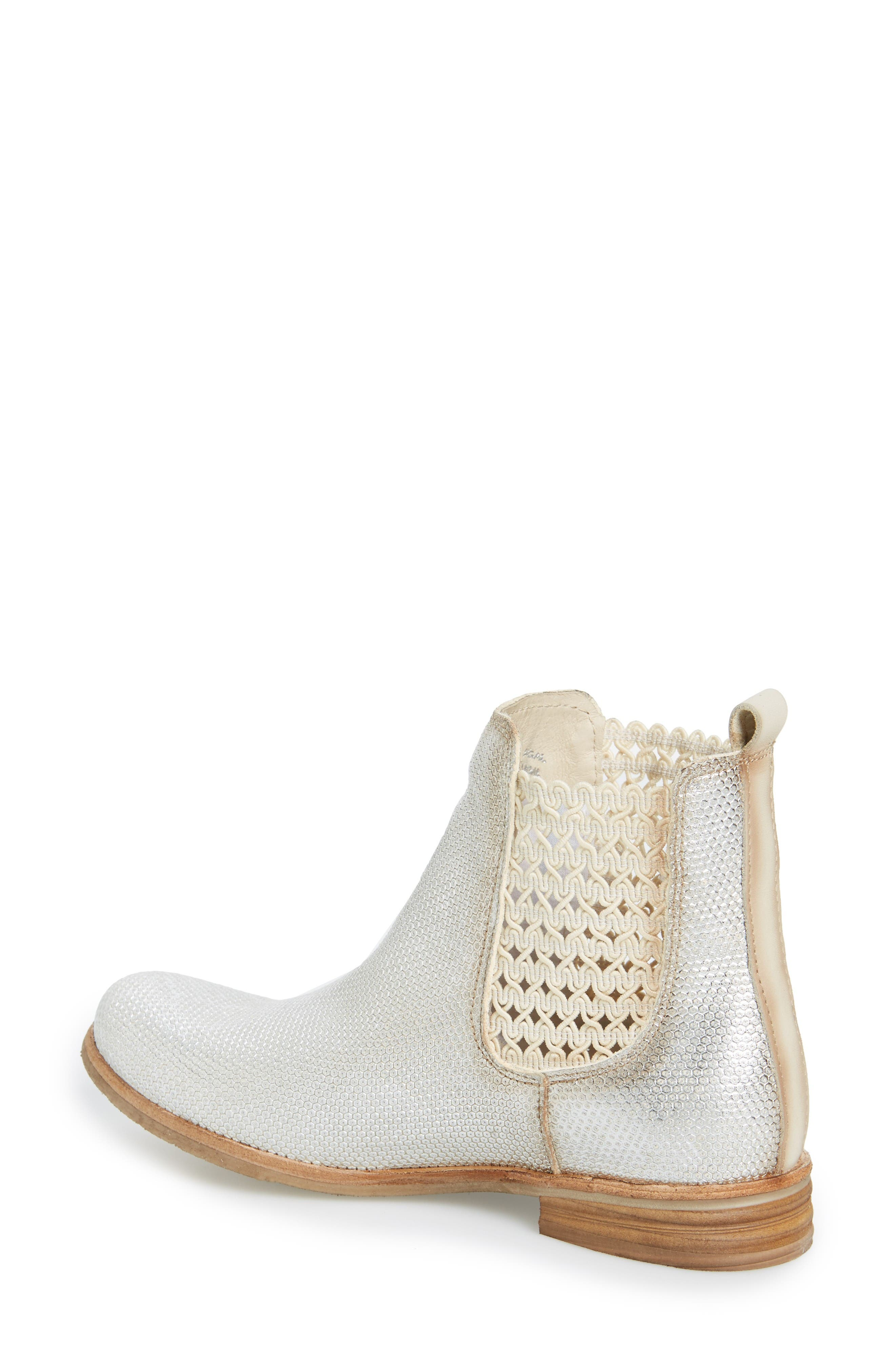 Flicker Boot,                             Alternate thumbnail 2, color,                             Off White/ Silver Leather
