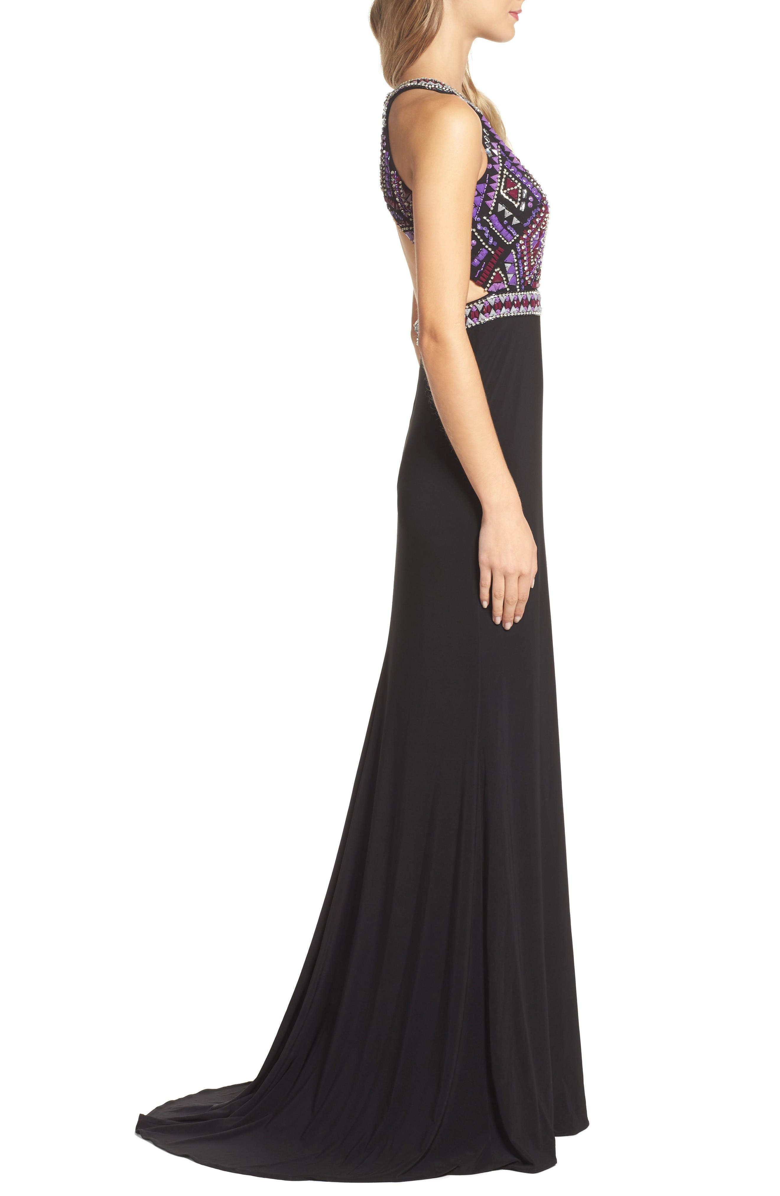 Embellished Jersey Gown,                             Alternate thumbnail 3, color,                             Black/ Multi