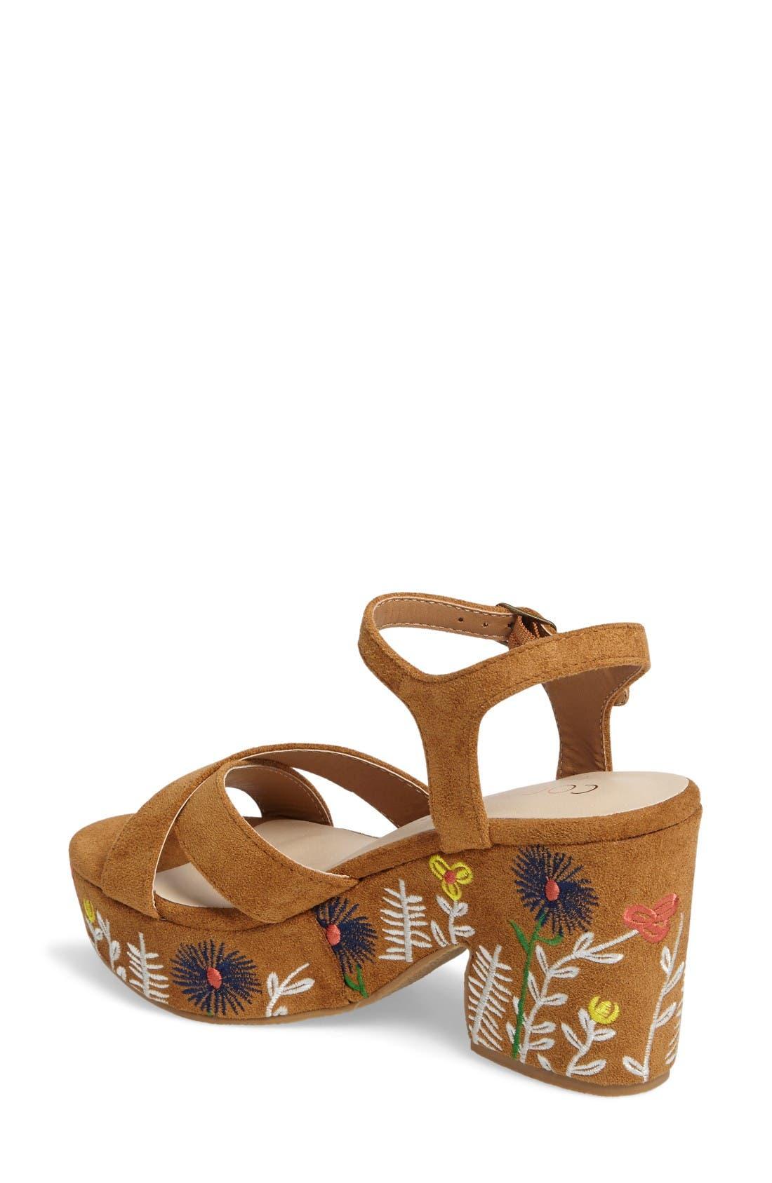 Coconuts by Matisse Fresh Platform Sandal,                             Alternate thumbnail 2, color,                             Tan Suede