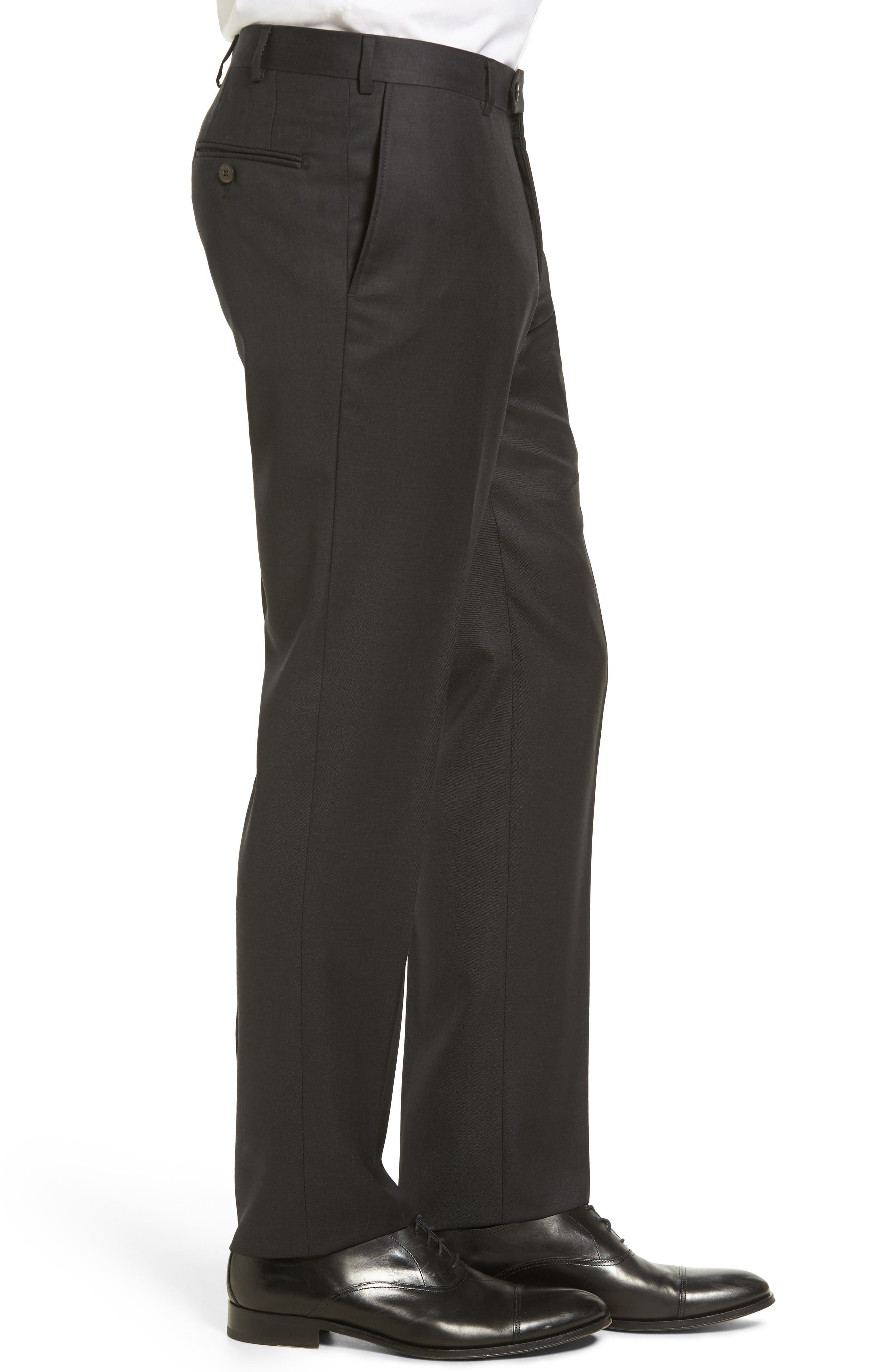 Flat Front Solid Wool Trousers,                             Alternate thumbnail 3, color,                             Charcoal