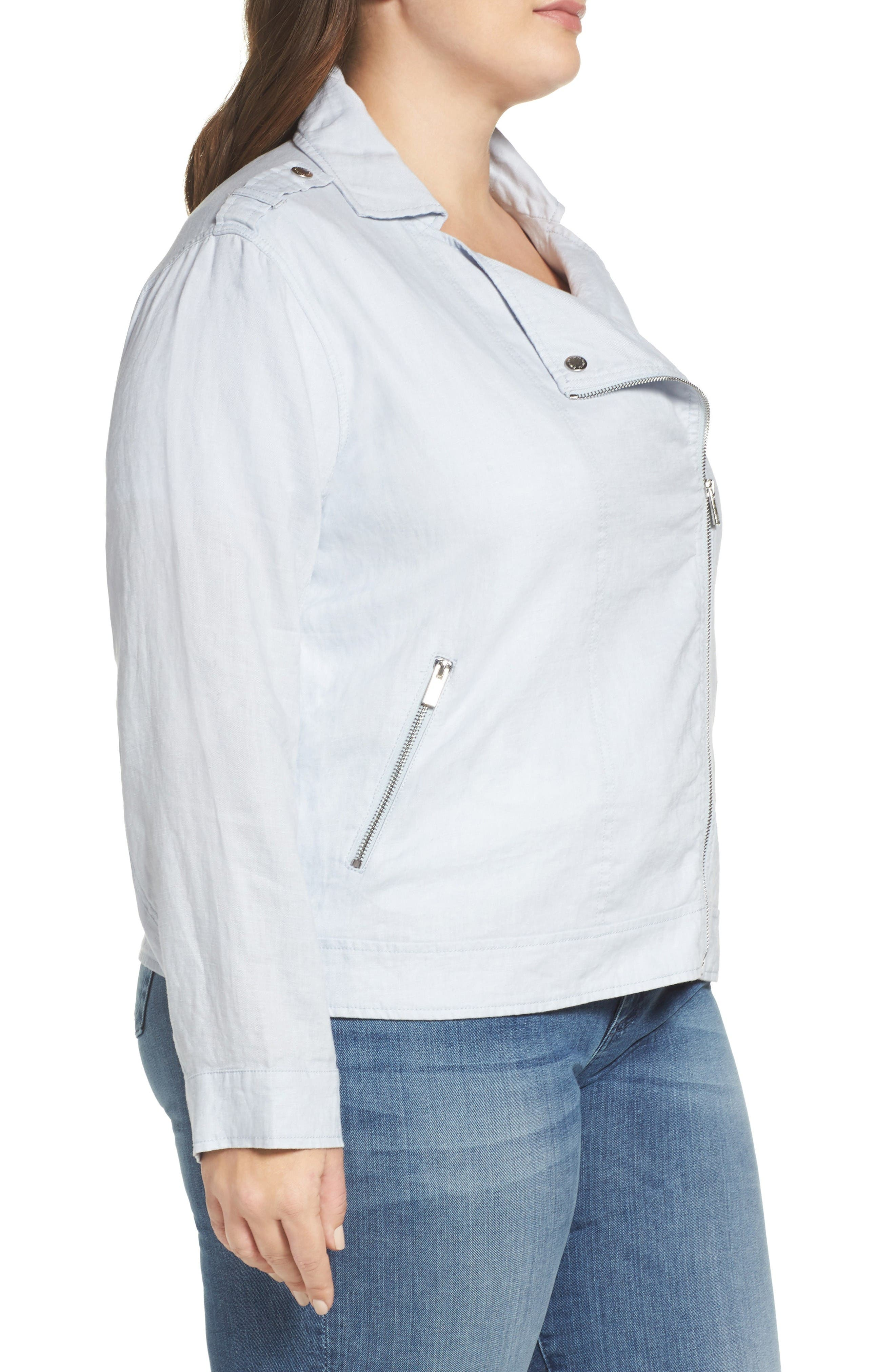 Alternate Image 3  - Two by Vince Camuto Drapey Linen Moto Jacket (Plus Size)