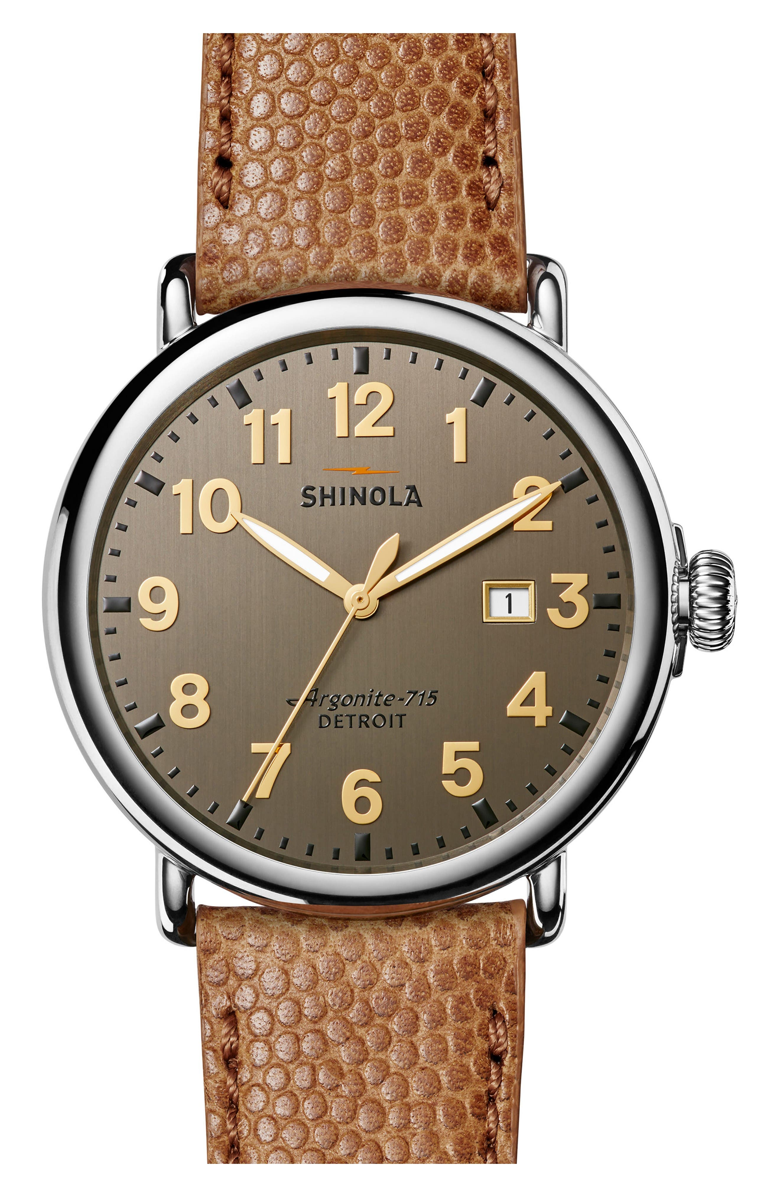 Runwell Leather Strap Watch, 47mm,                             Main thumbnail 1, color,                             Dark Camel/ Brushed Dark