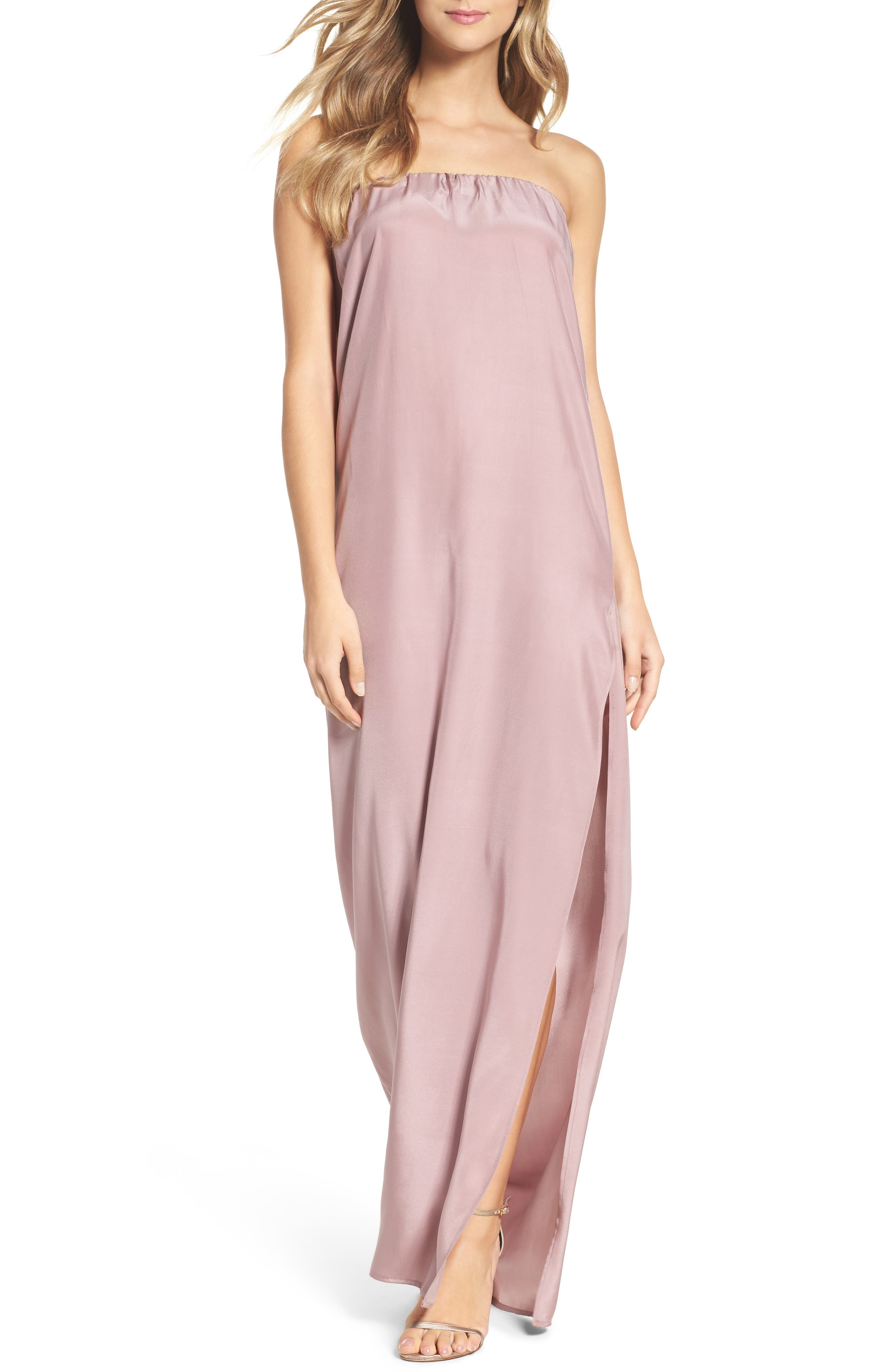 Strapless Silk Column Gown,                         Main,                         color, Lilac