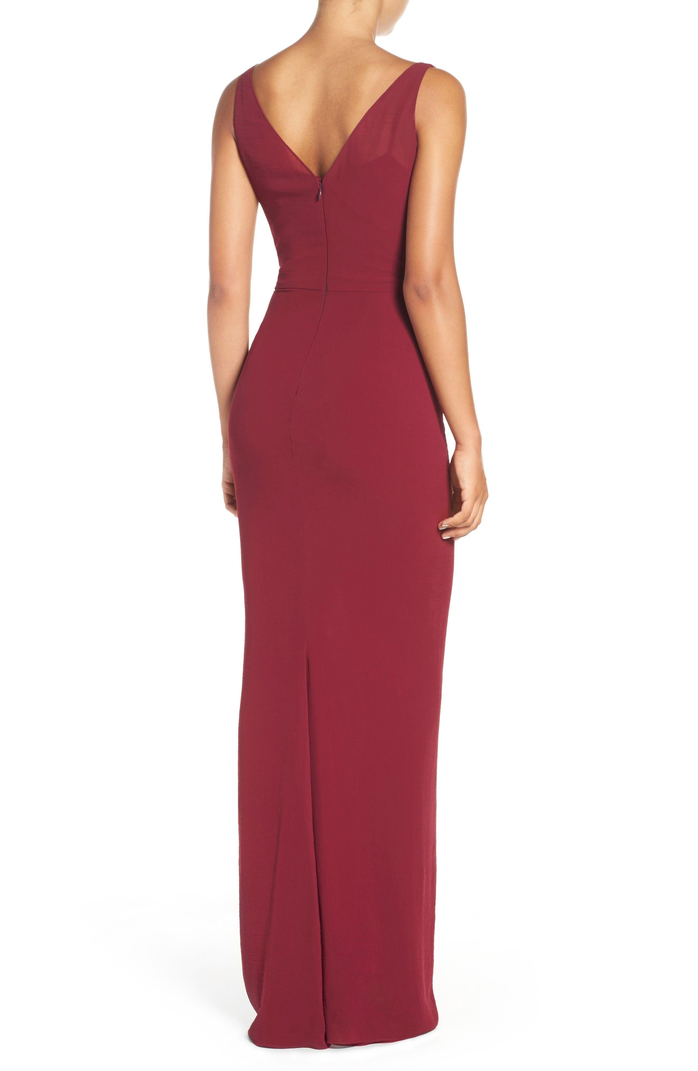 Wrap Front Chiffon Gown,                             Alternate thumbnail 4, color,                             Bordeaux