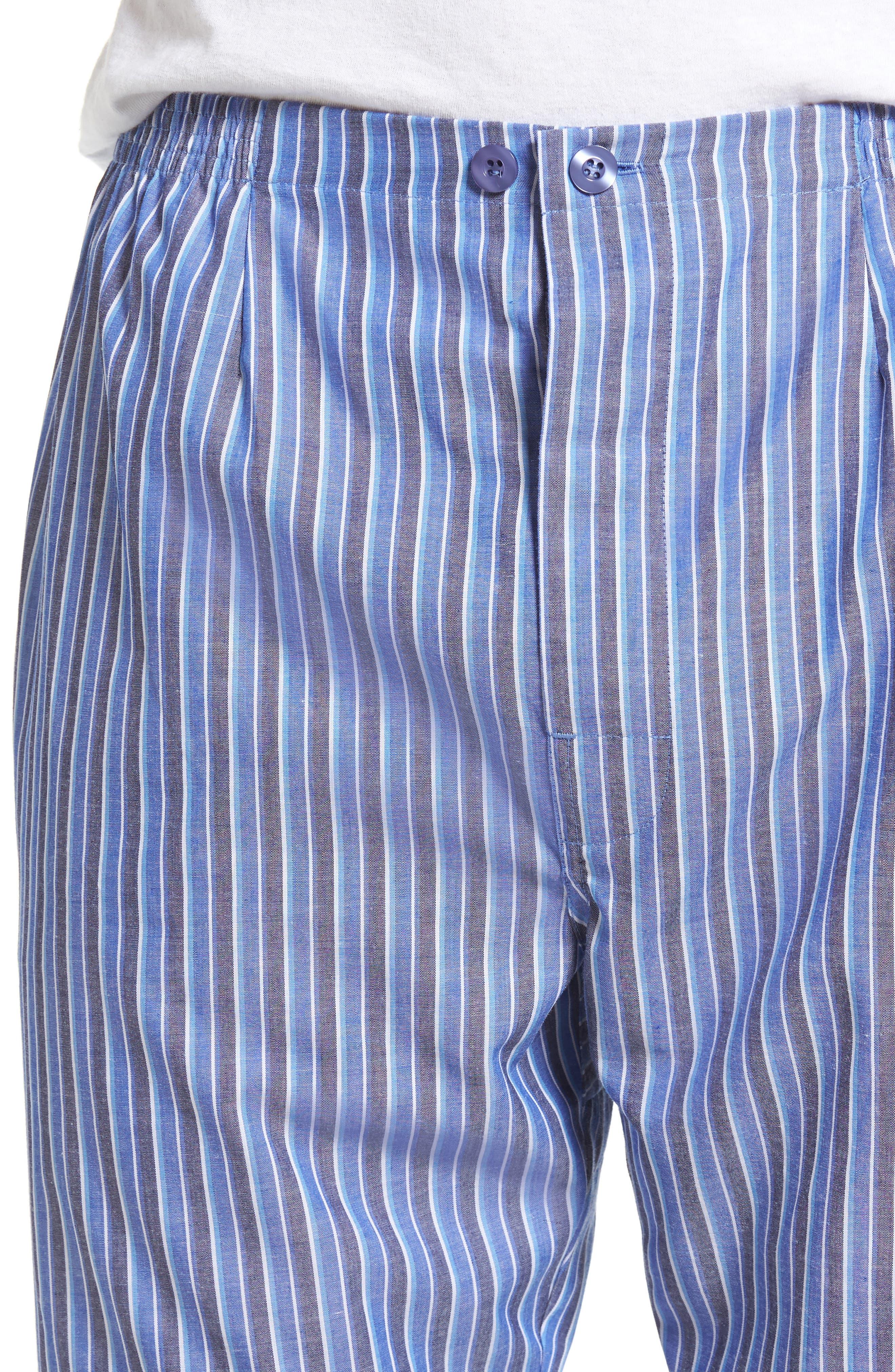 Cole Cotton Blend Pajama Set,                             Alternate thumbnail 4, color,                             Royal Stripe