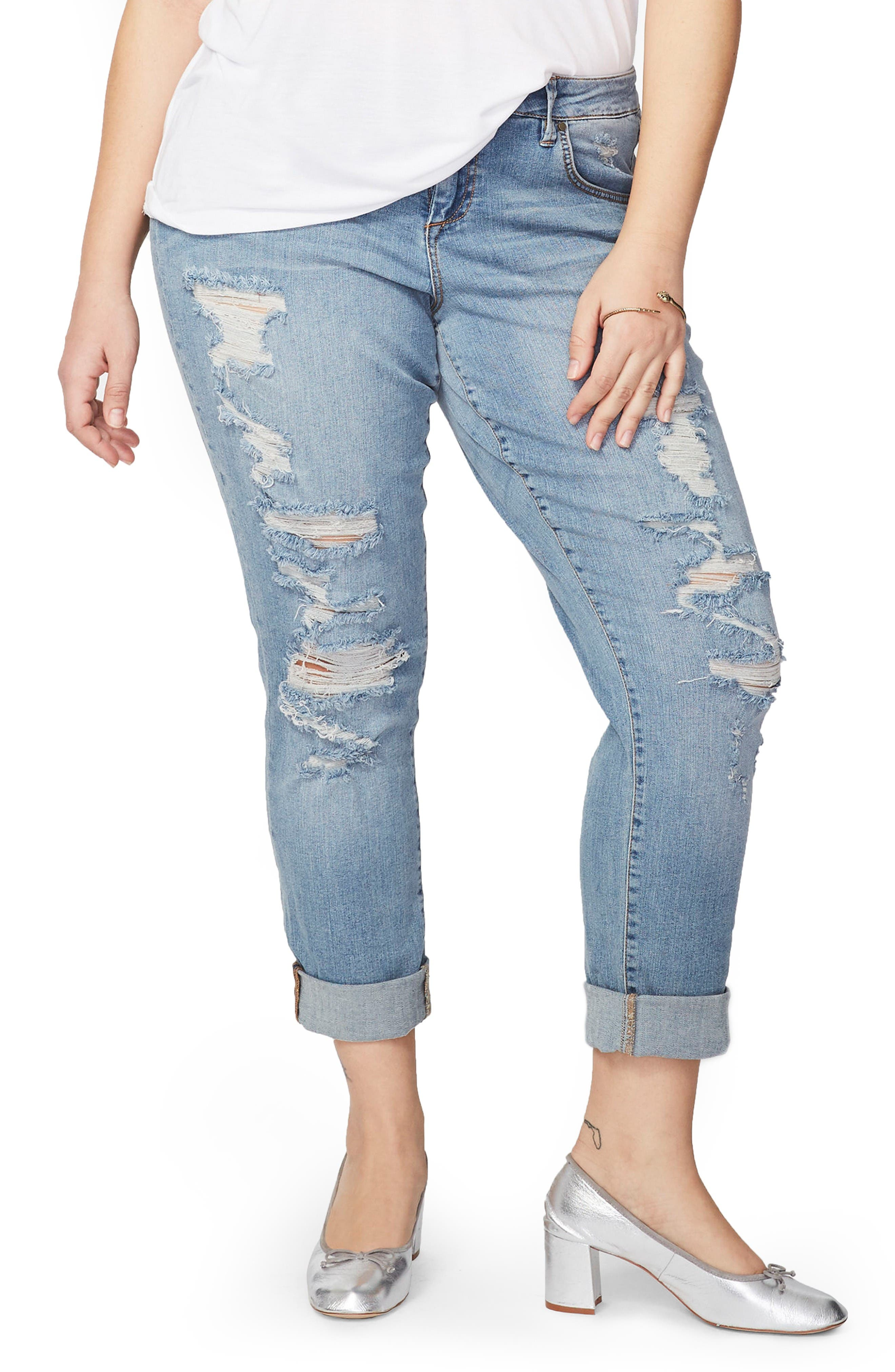 Ripped Girlfriend Jeans,                             Main thumbnail 1, color,                             Light Wash