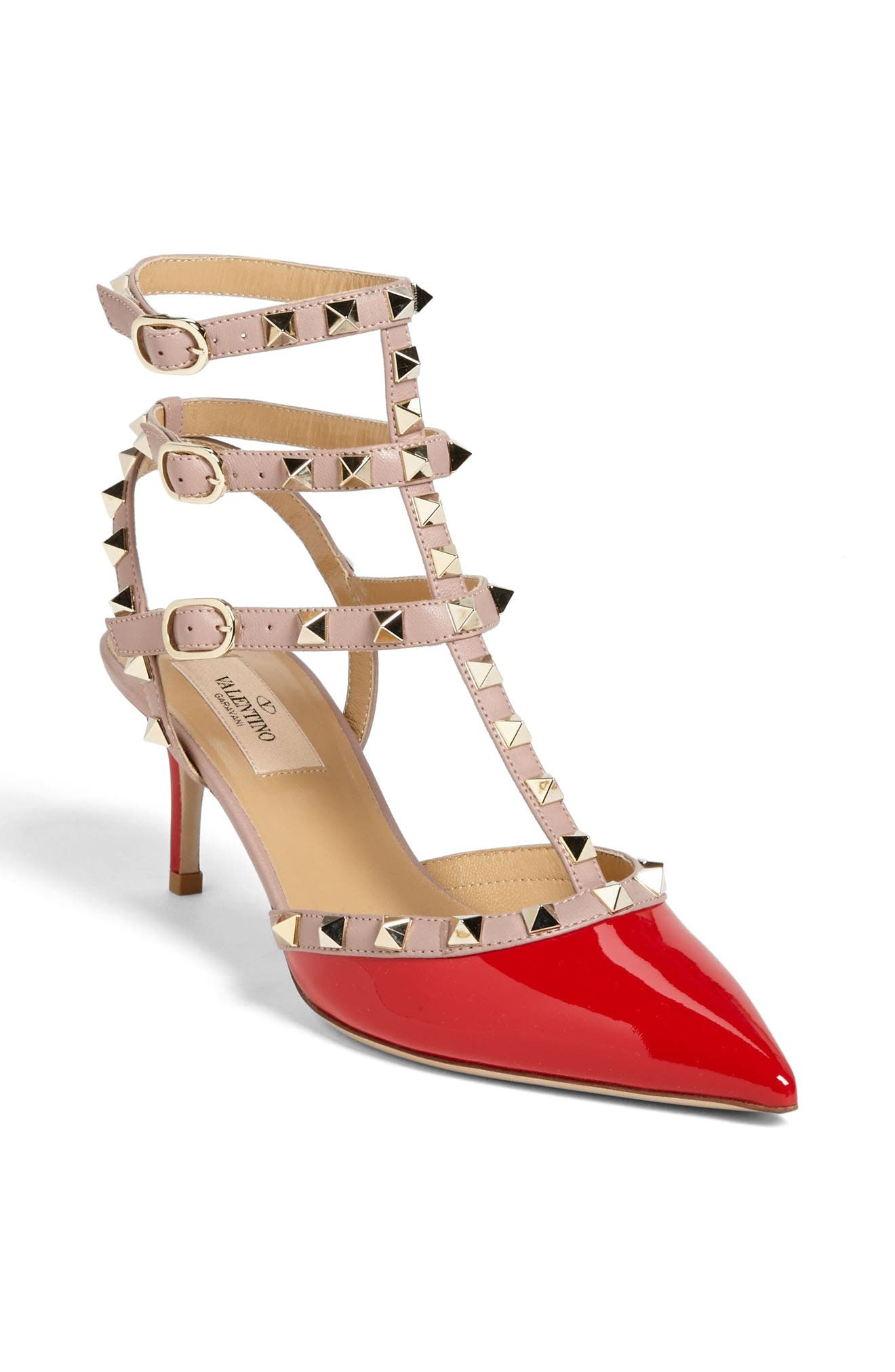 Rockstud Pointy Toe Pump,                             Main thumbnail 1, color,                             Red Patent
