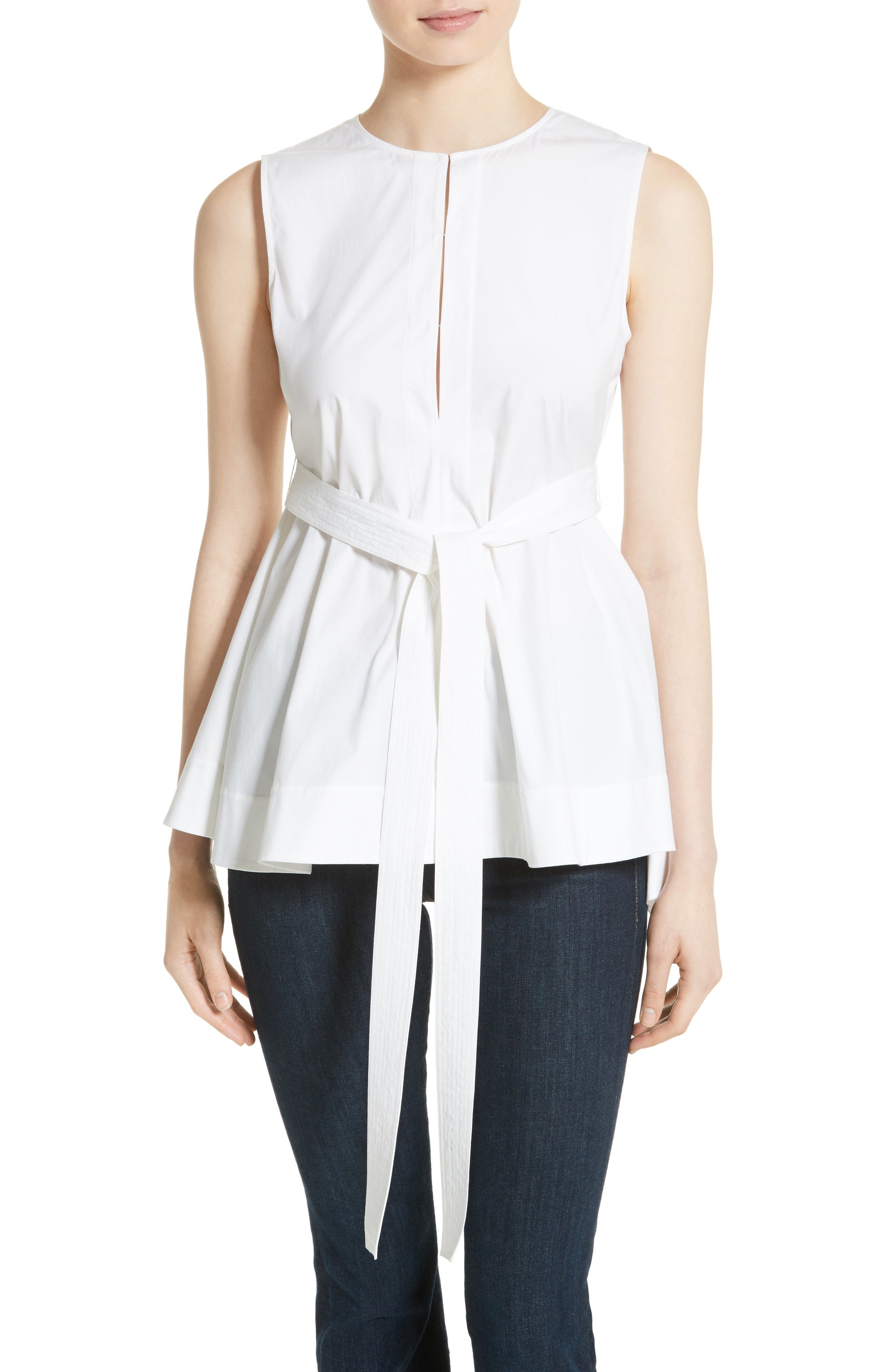 Theory Desza Belted Stretch Cotton Top