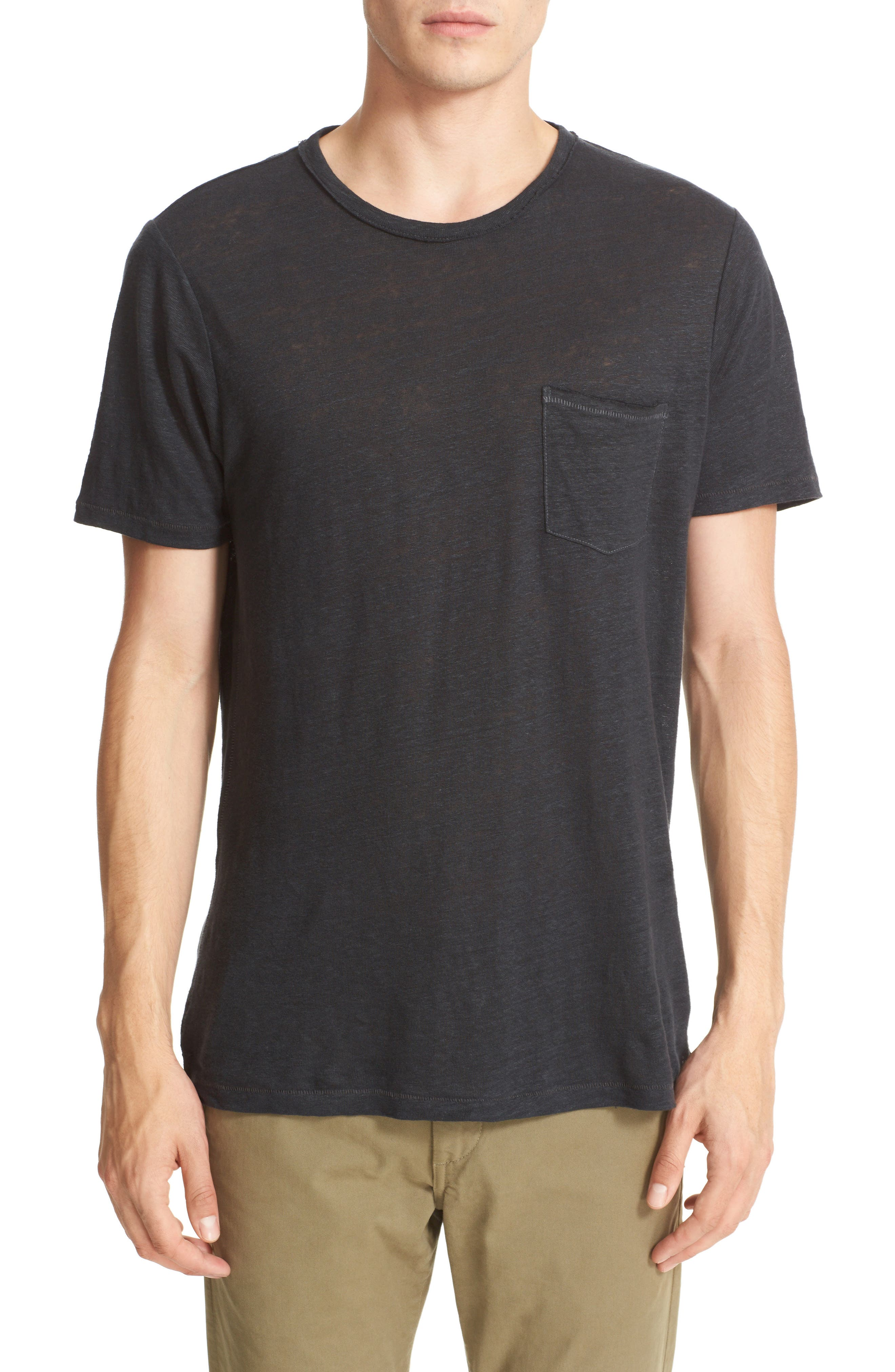 Owen Slub Linen T-Shirt,                         Main,                         color, Black