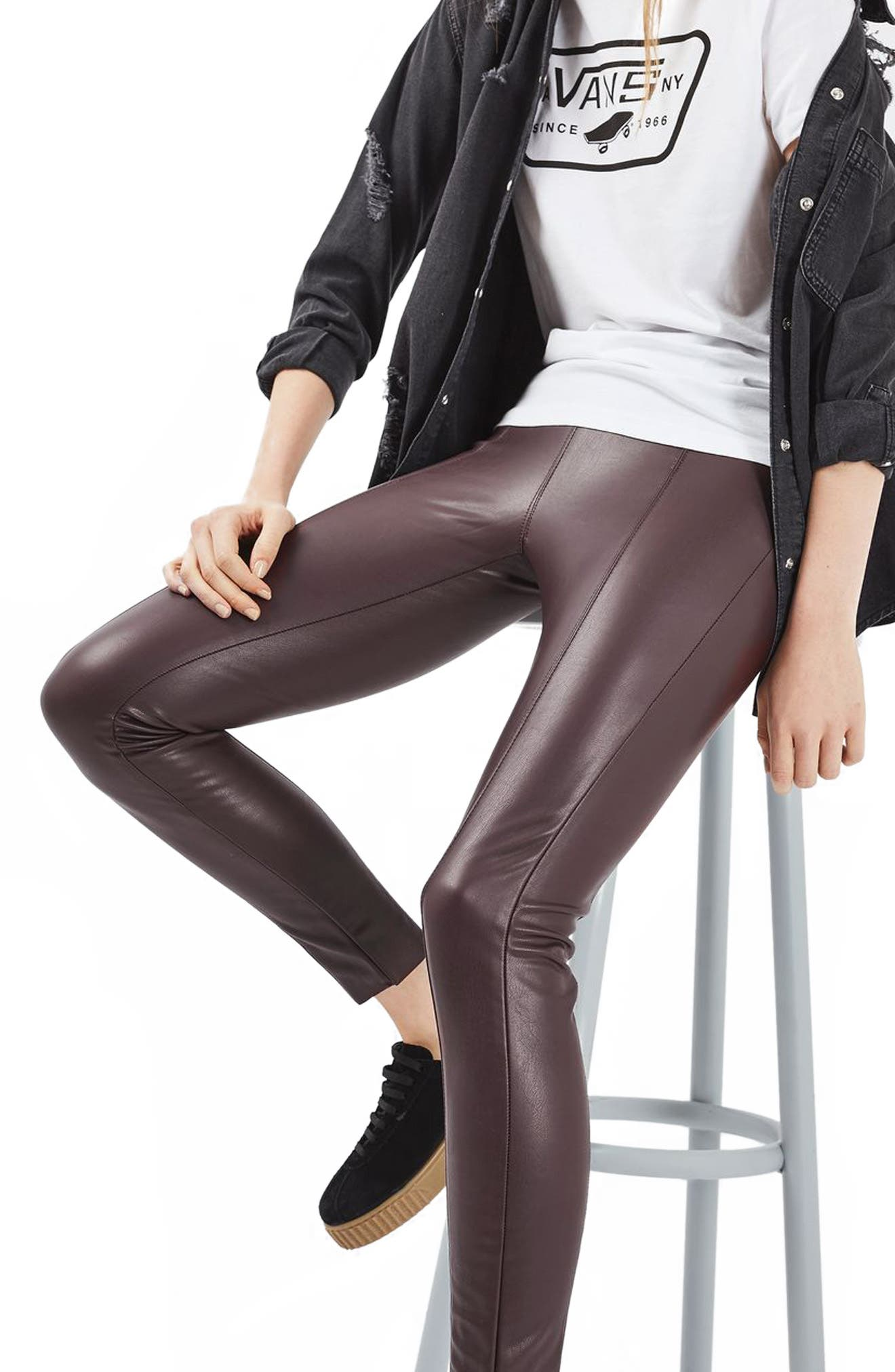 Percy Faux Leather Skinny Pants,                         Main,                         color, Burgundy