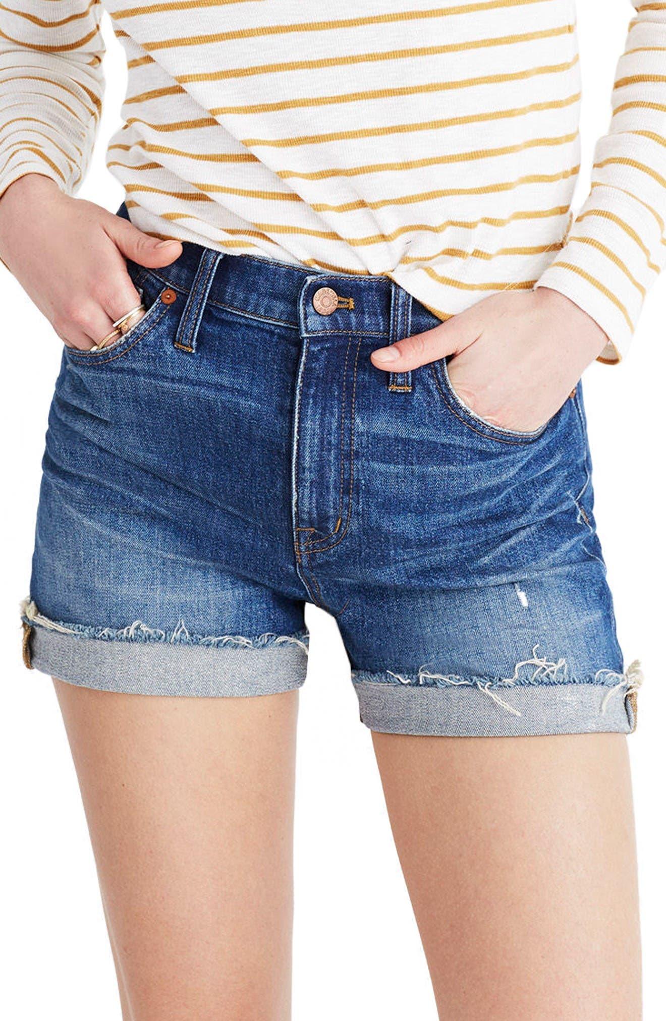Main Image - Madewell High Rise Cuffed Denim Shorts (Glen Oaks)