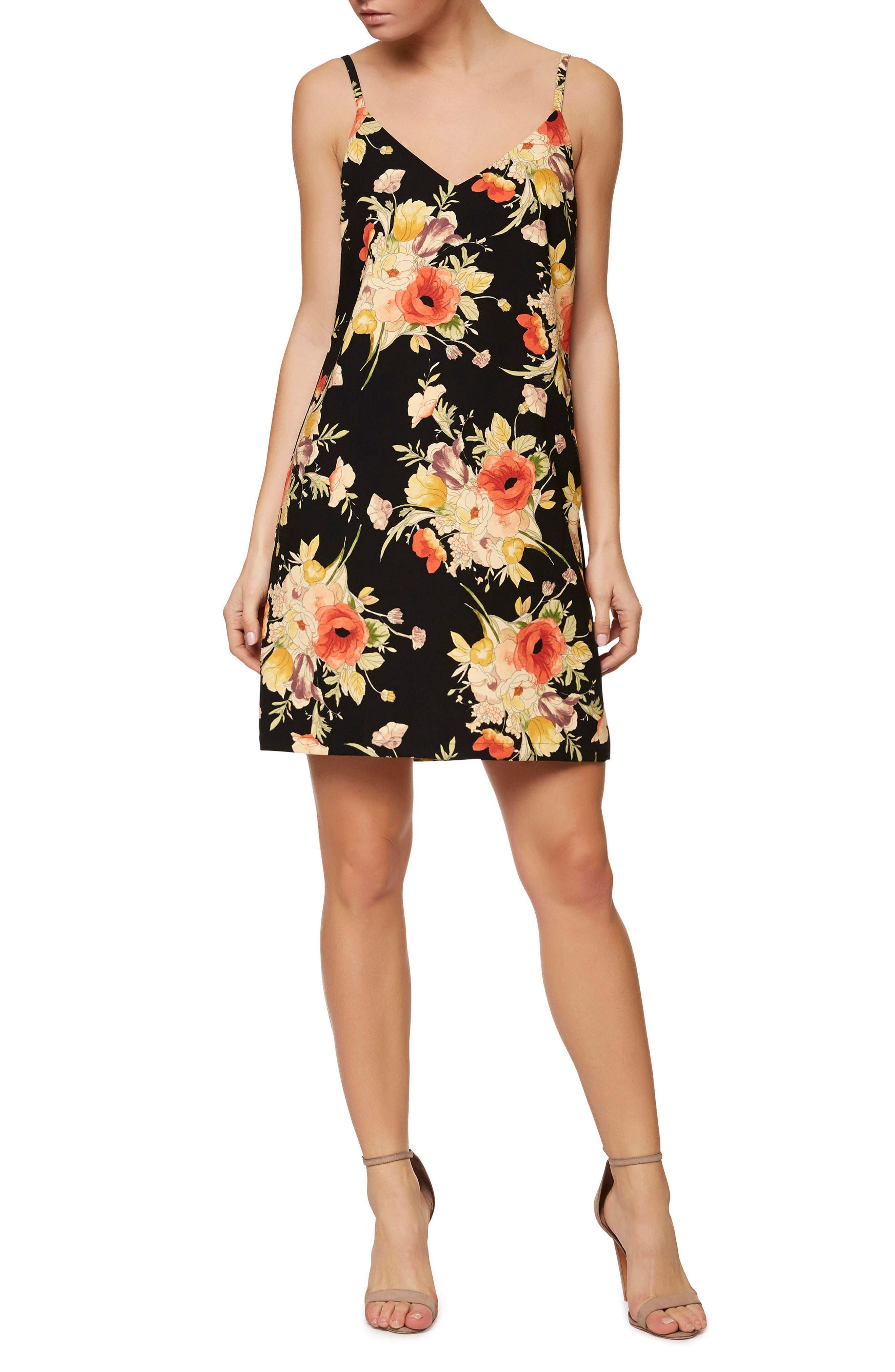 Floral Slip Dress,                         Main,                         color, Dark Lily Pond