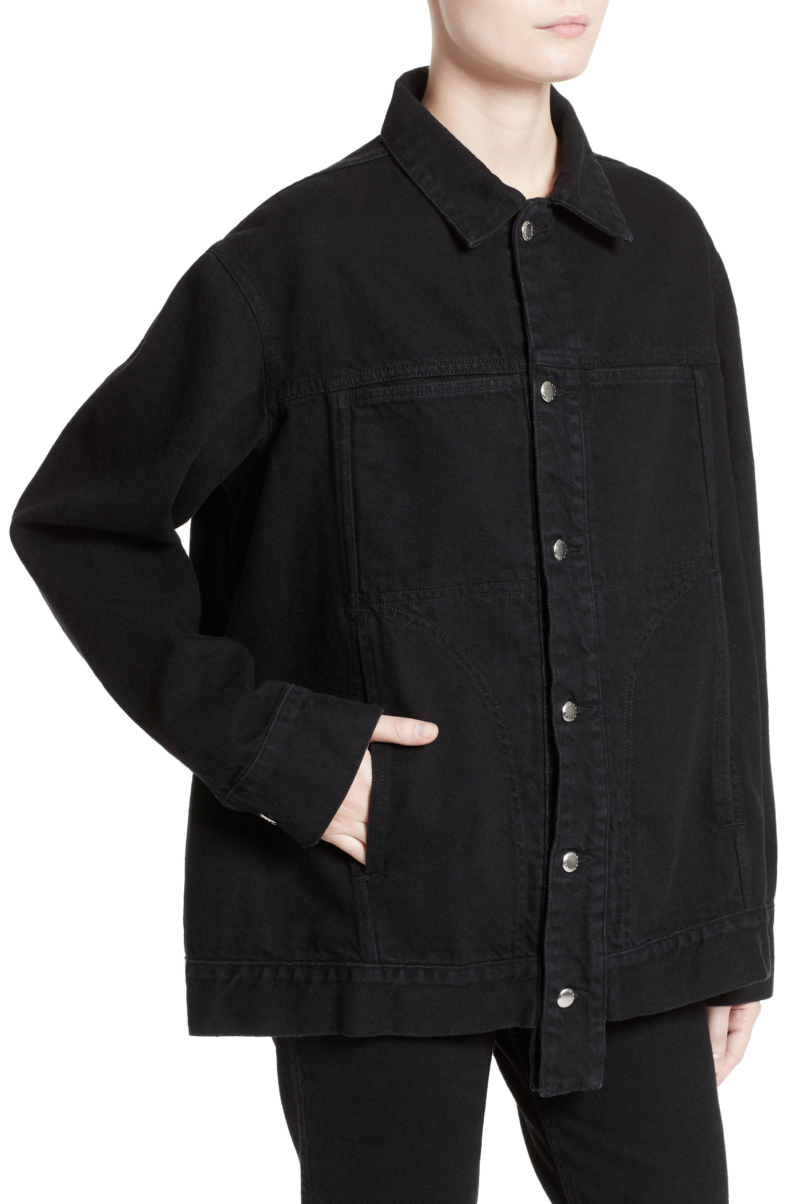 Denim Jacket,                             Alternate thumbnail 6, color,                             Almost Black