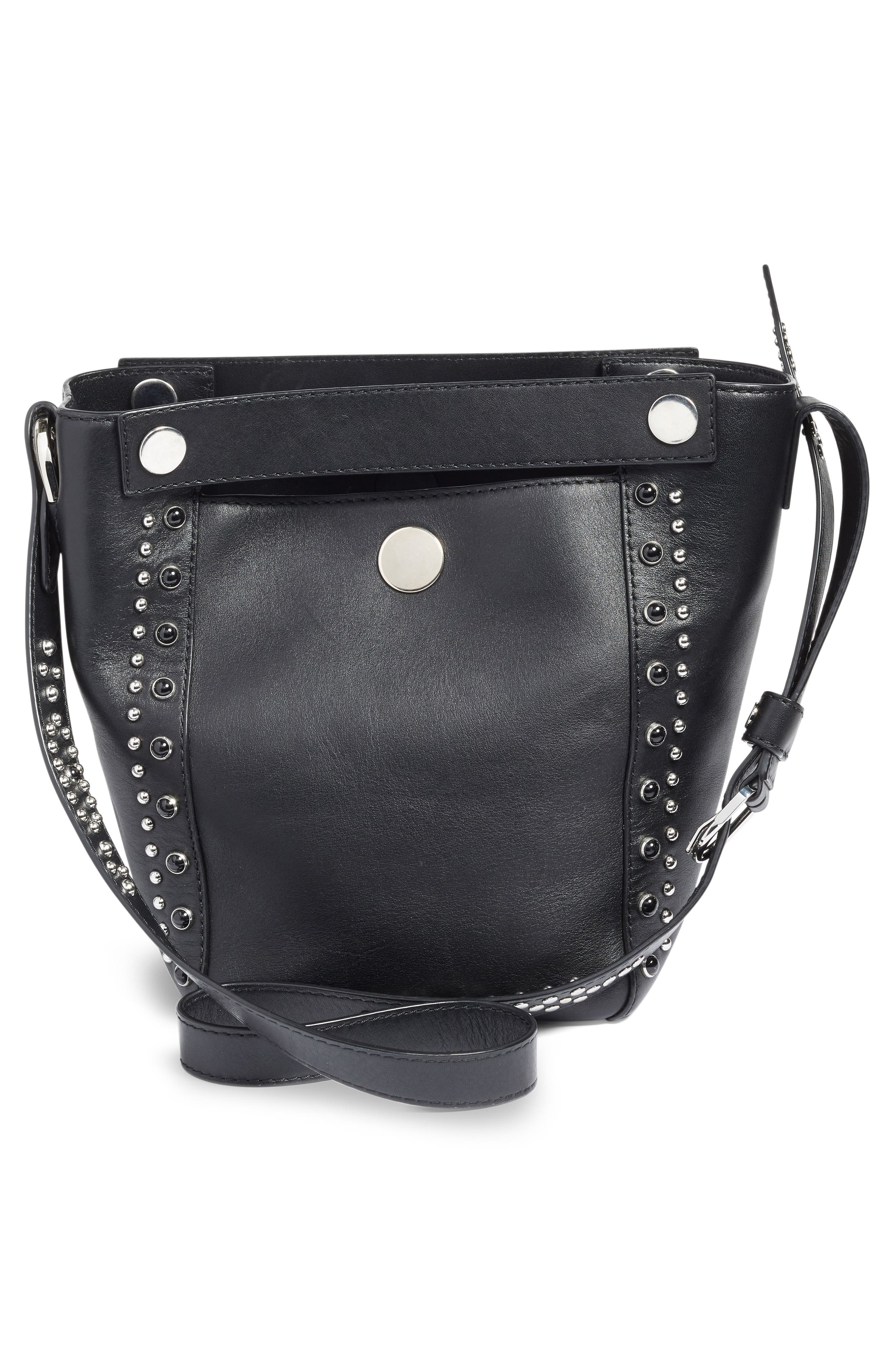 Small Dolly Studded Leather Tote,                             Alternate thumbnail 2, color,                             Black