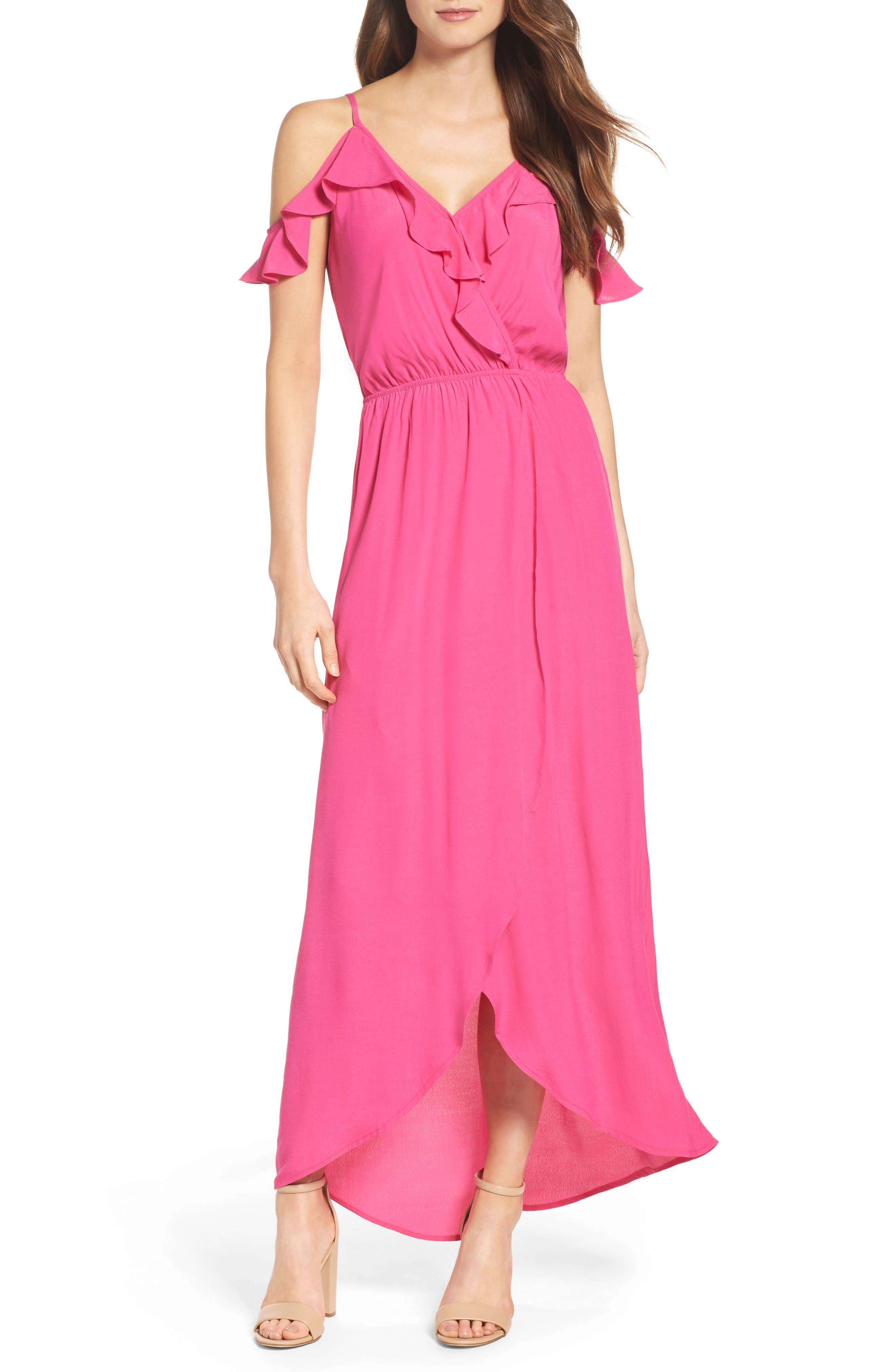 Cold Shoulder Maxi Dress,                             Main thumbnail 1, color,                             Pink