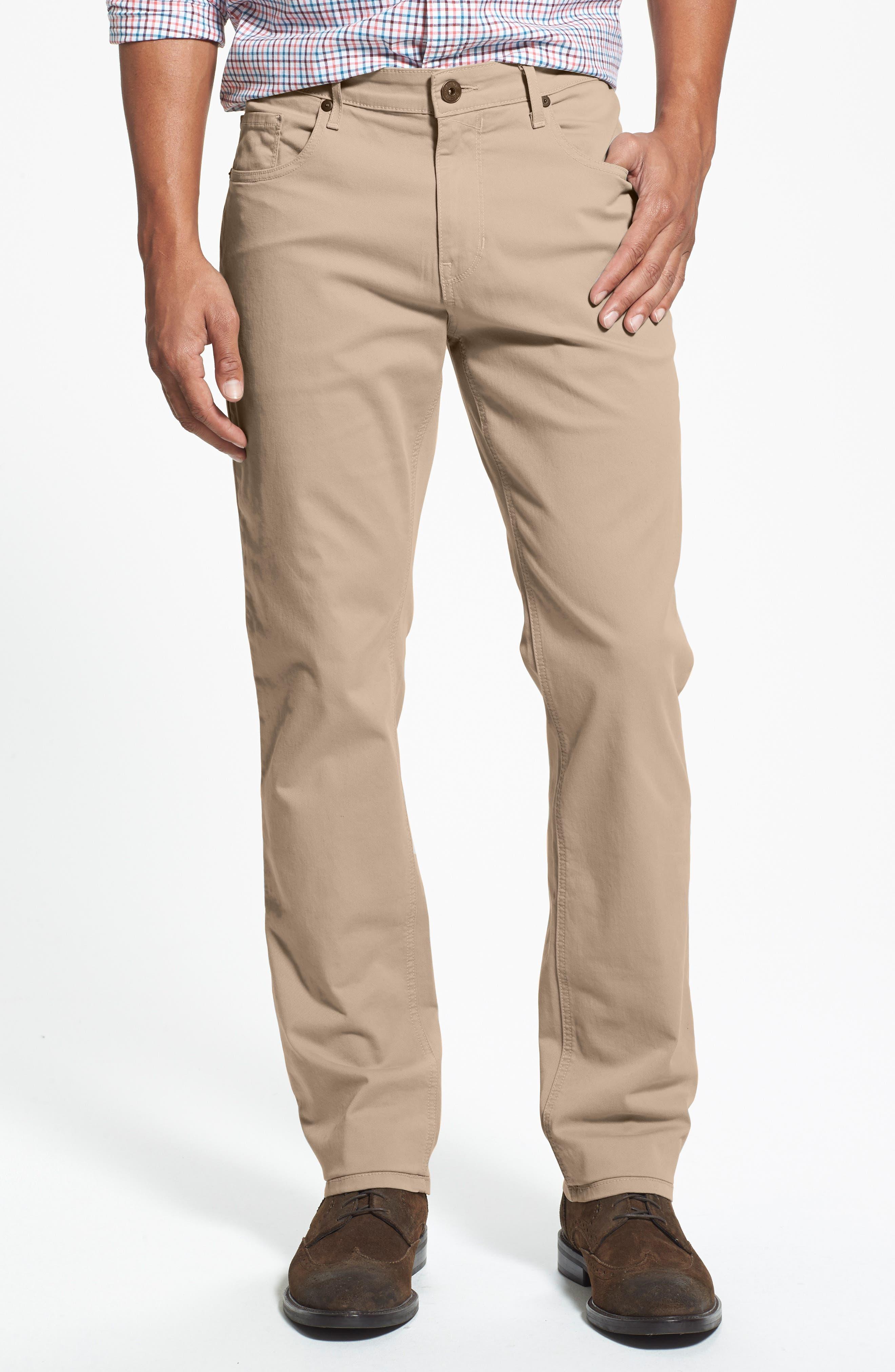 Normandie Slim Straight Leg Twill Pants,                         Main,                         color, Timberwolf