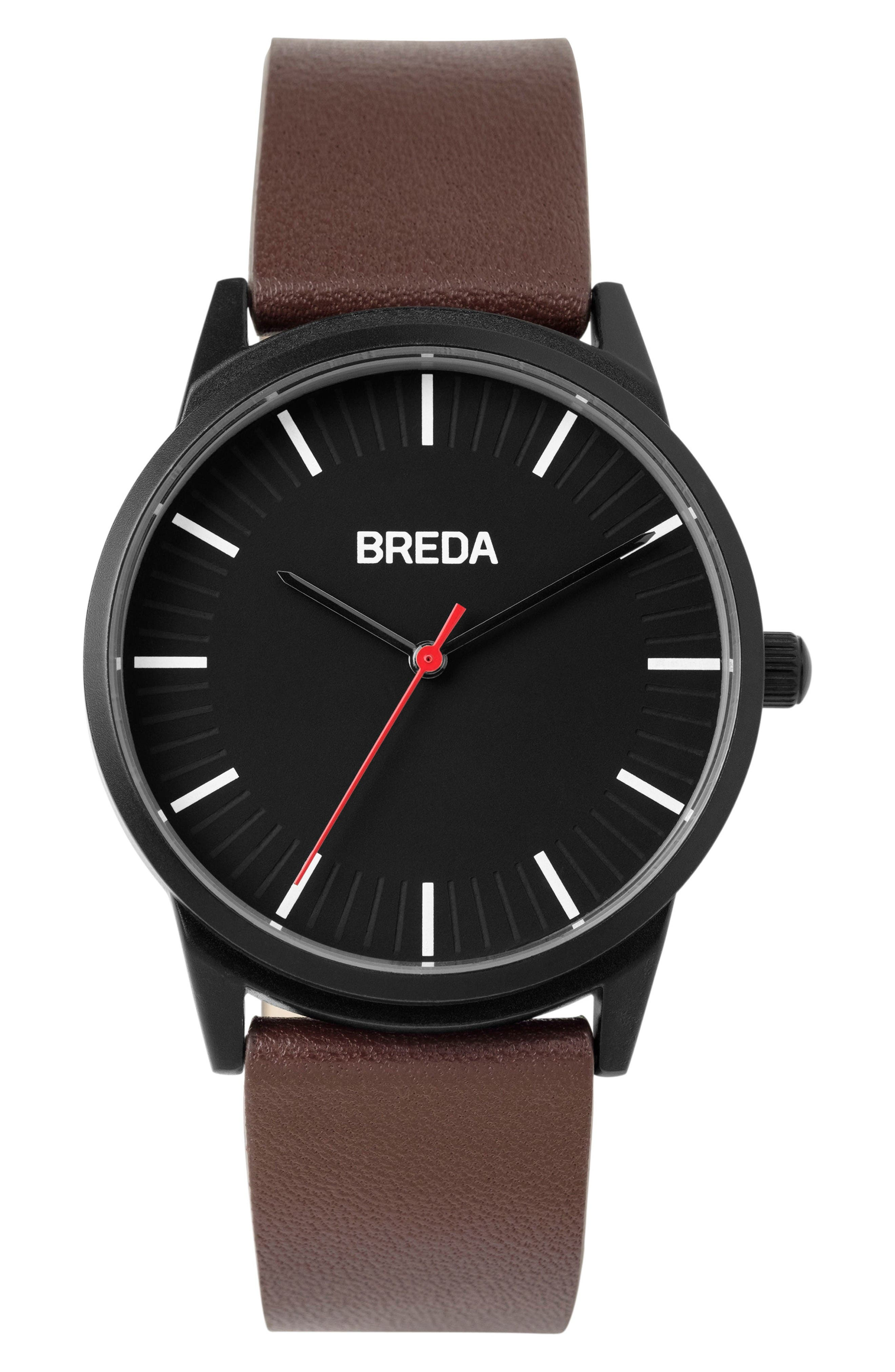 BREDA Bresson Leather Strap Watch, 42mm