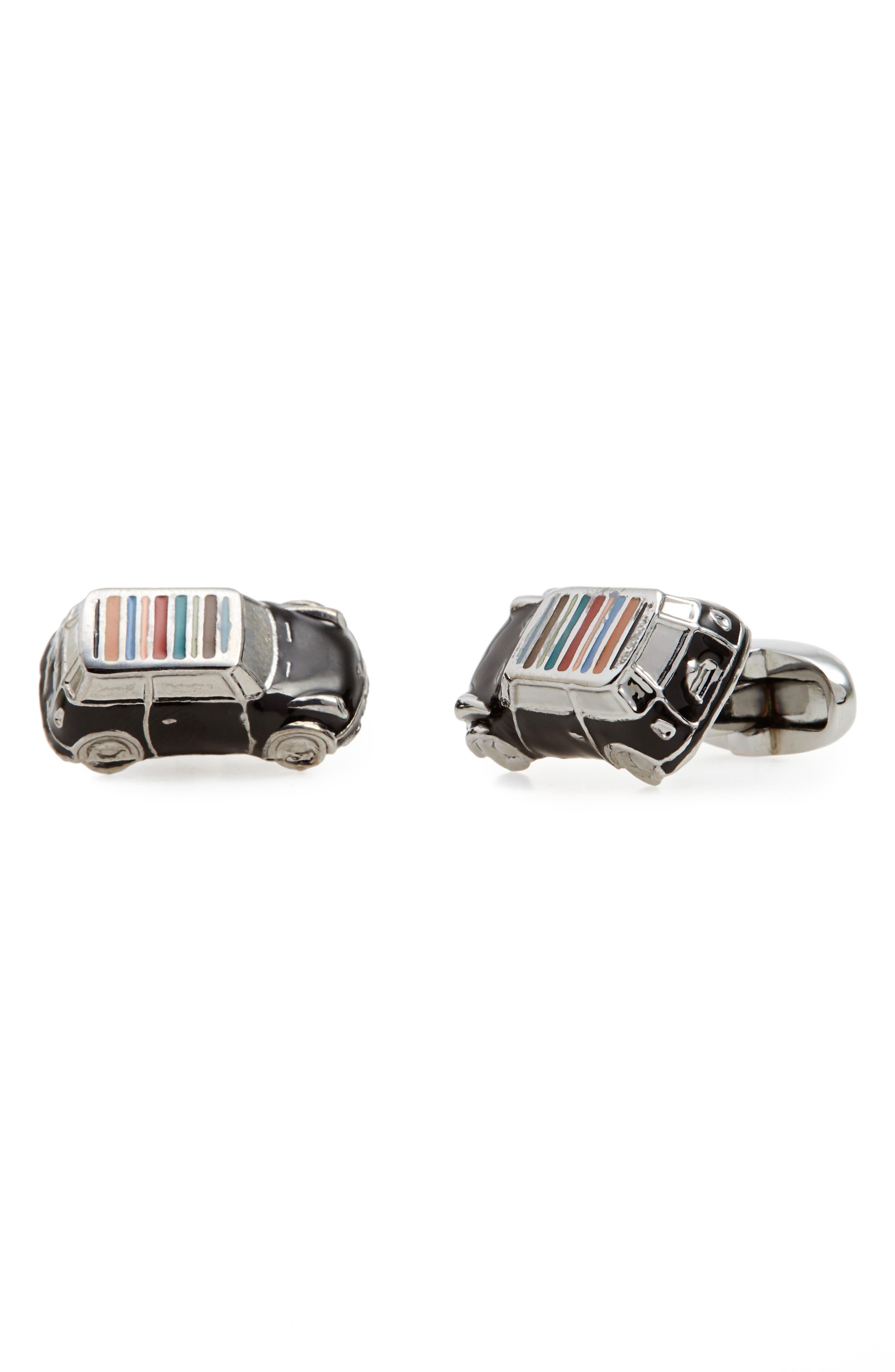 Enamel Stripe Car Cuff Links,                         Main,                         color, Silver Multi