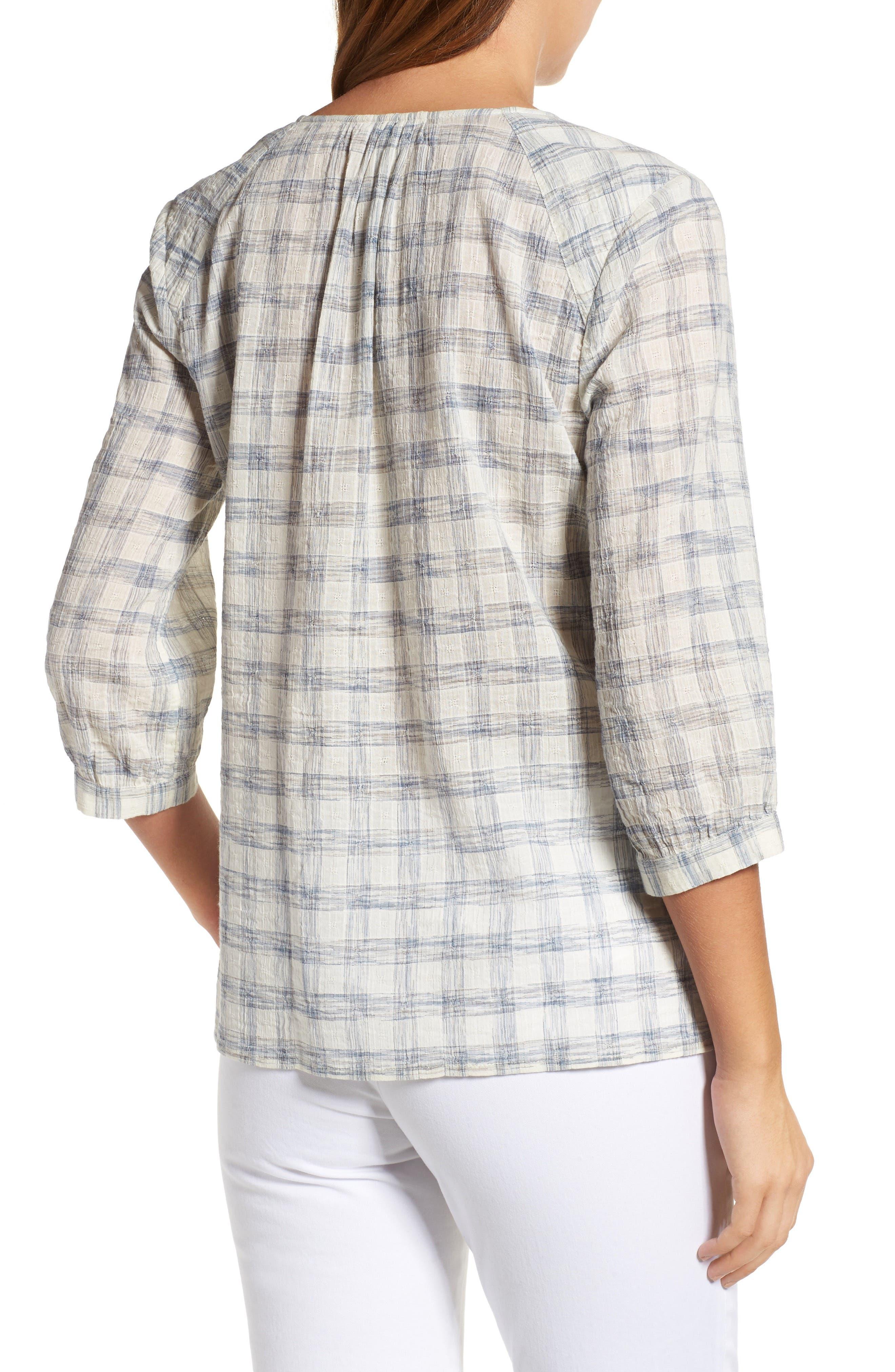Alternate Image 2  - Caslon® Print Lace-Up Peasant Top