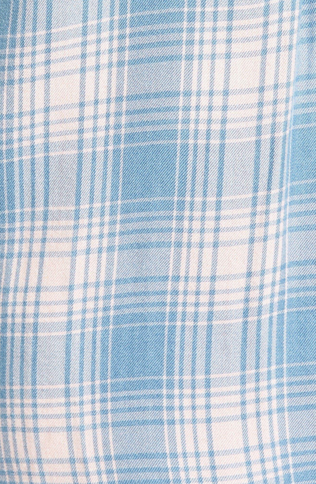 Cold Shoulder Plaid Shirtdress,                             Alternate thumbnail 5, color,                             Pink Plaid