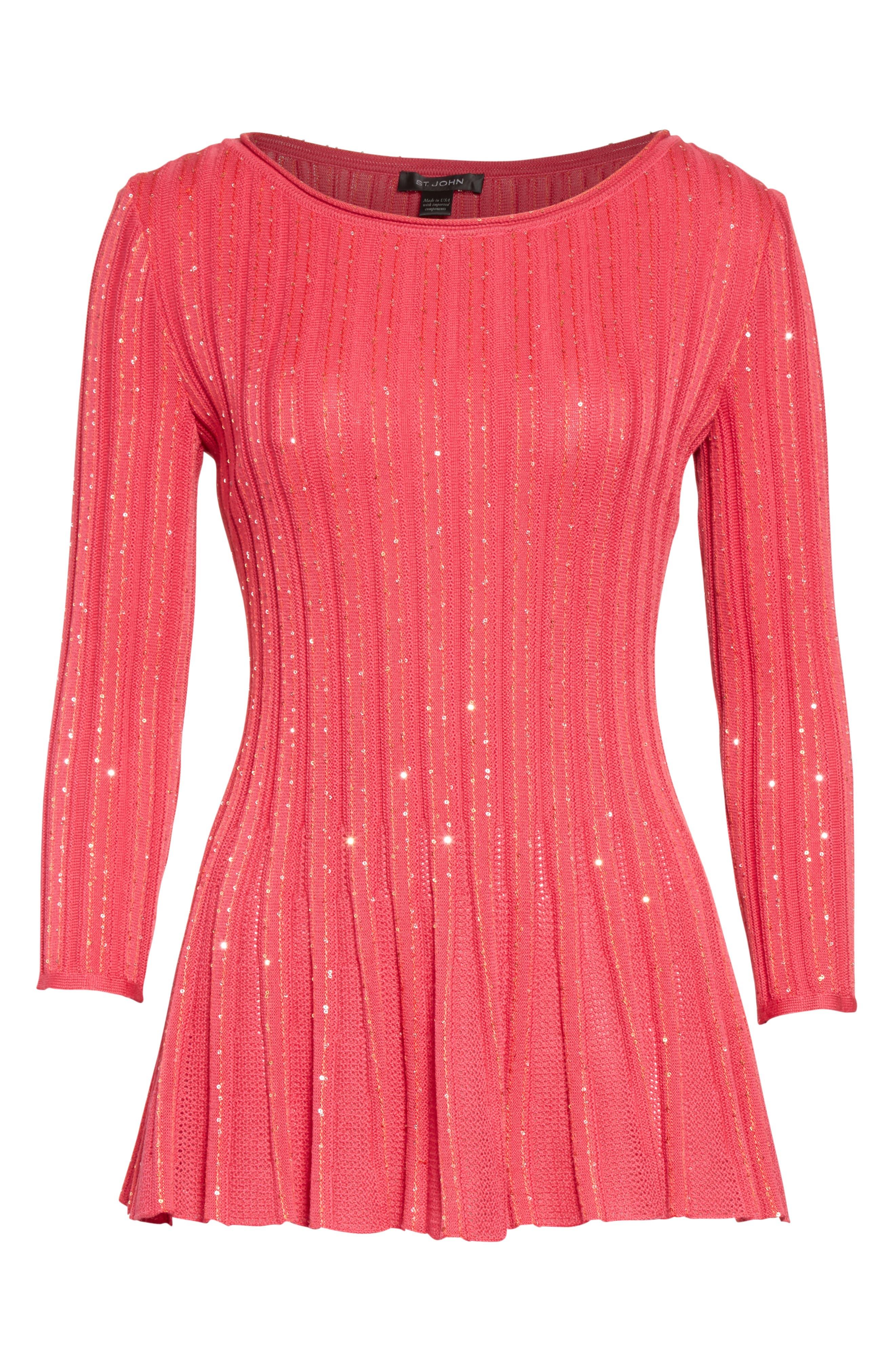 Chriag Sequin Knit Peplum Top,                             Alternate thumbnail 7, color,                             Indian Rose