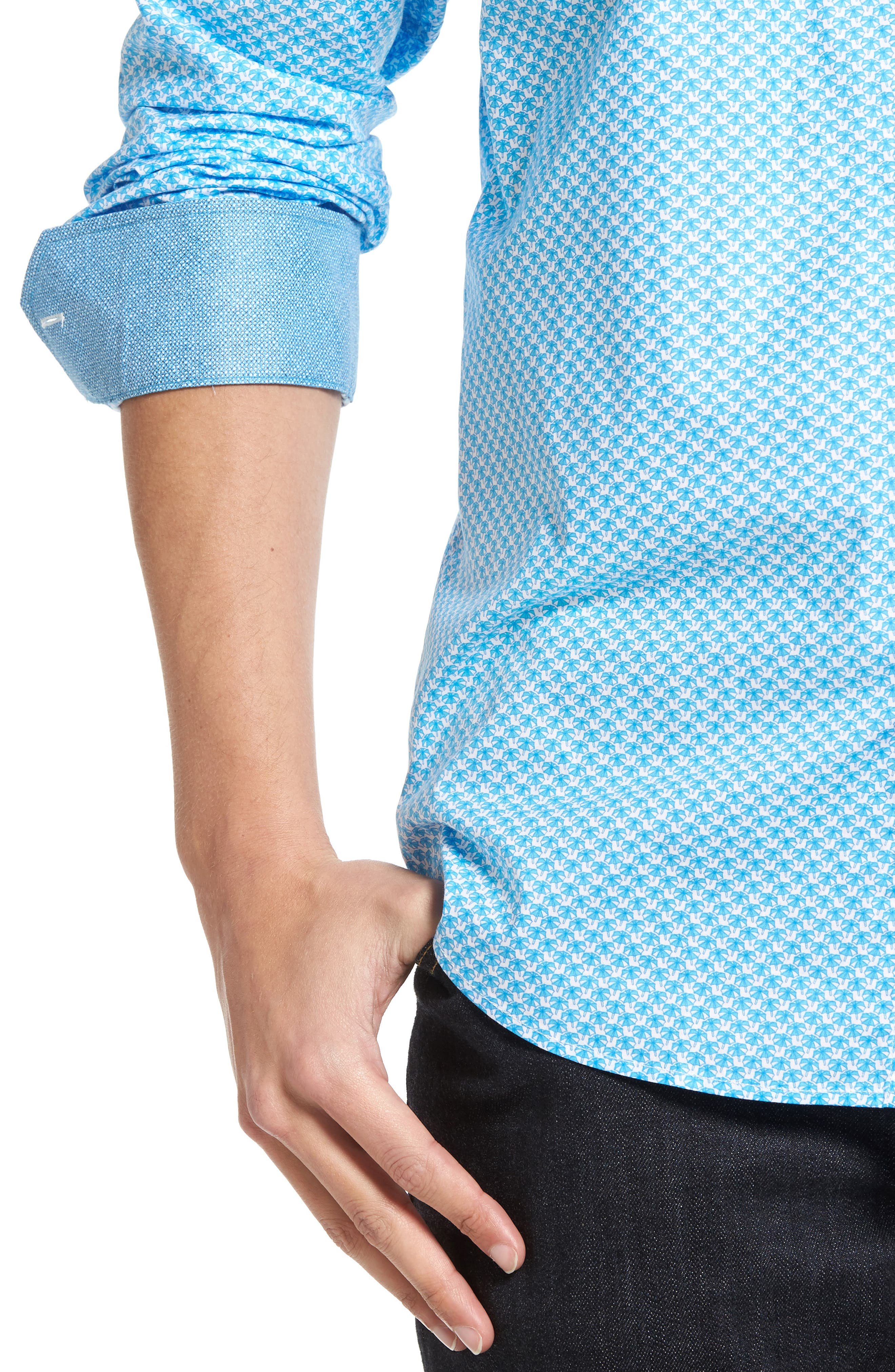 Classic Fit Umbrella Print Sport Shirt,                             Alternate thumbnail 4, color,                             Turquoise