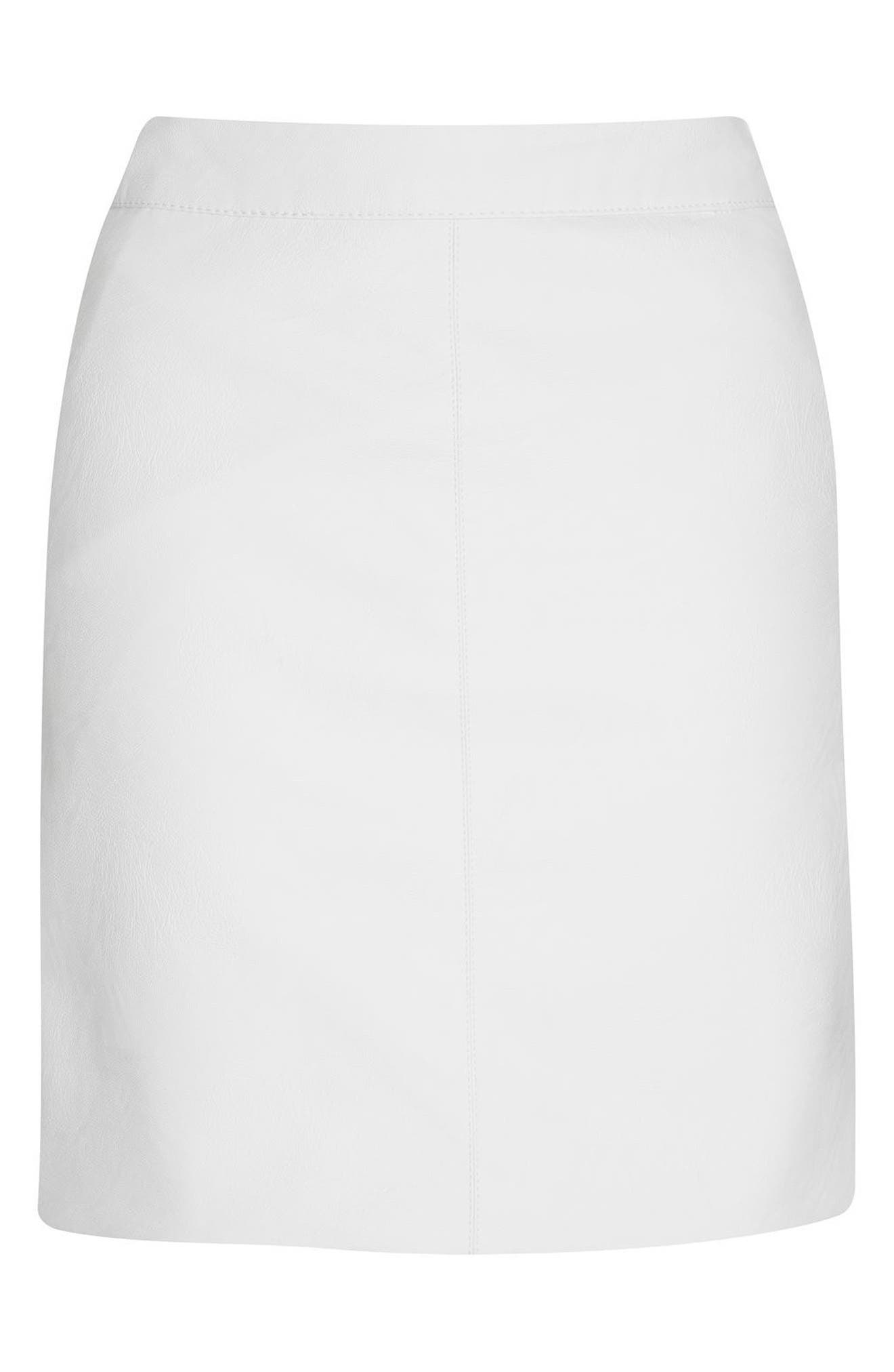 Faux Leather Pencil Skirt,                             Alternate thumbnail 5, color,                             White