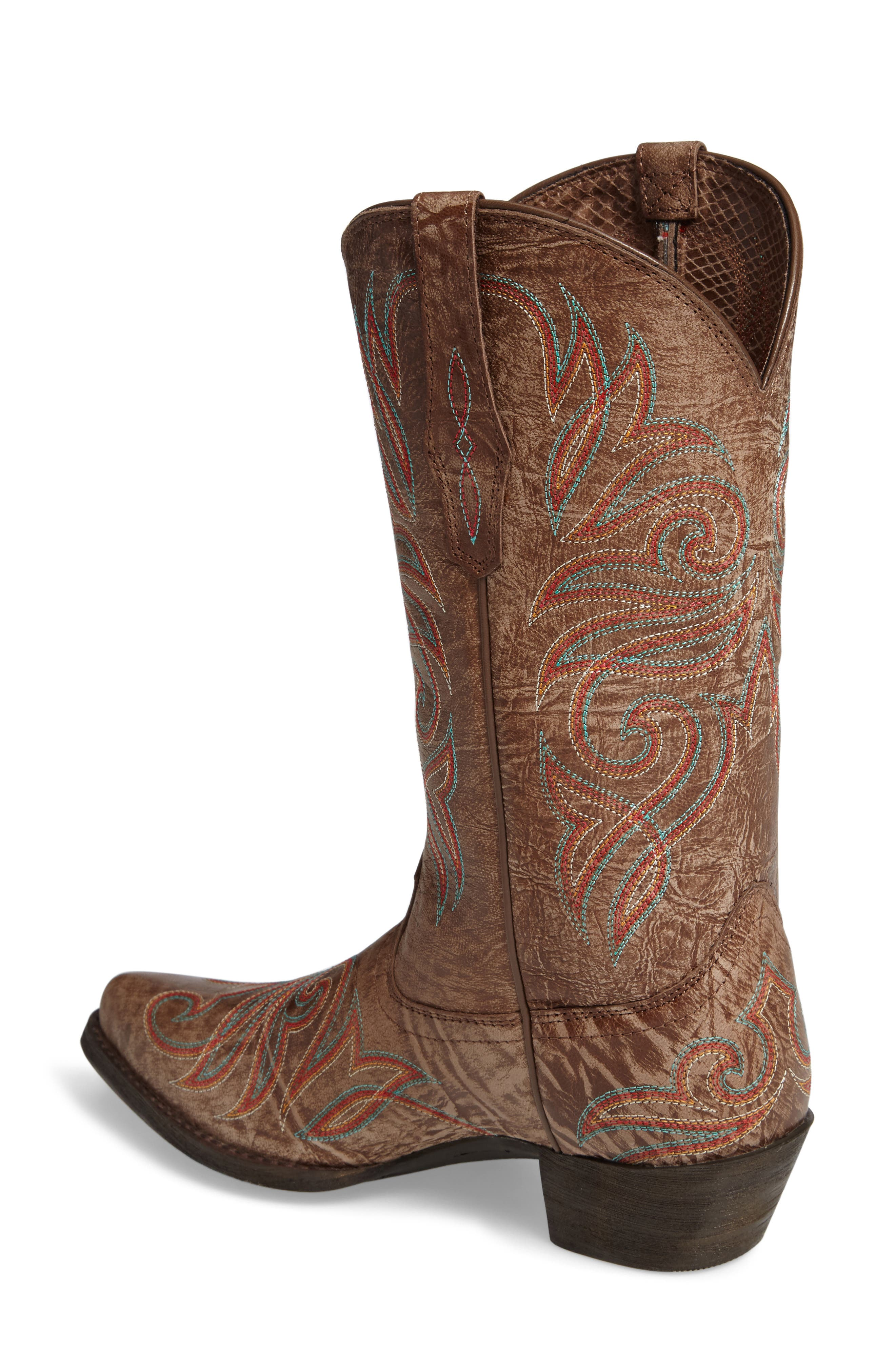 Round Up J-Toe Western Boot,                             Alternate thumbnail 2, color,                             Burnished Brown Leather