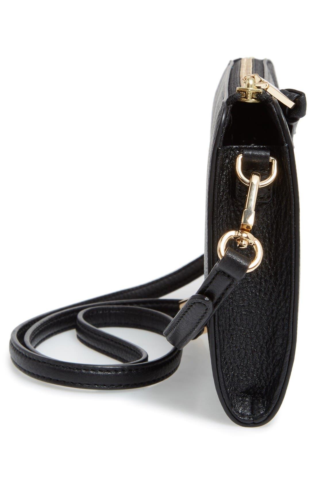 Robinson Leather Wallet/Crossbody Bag,                             Alternate thumbnail 5, color,                             Black