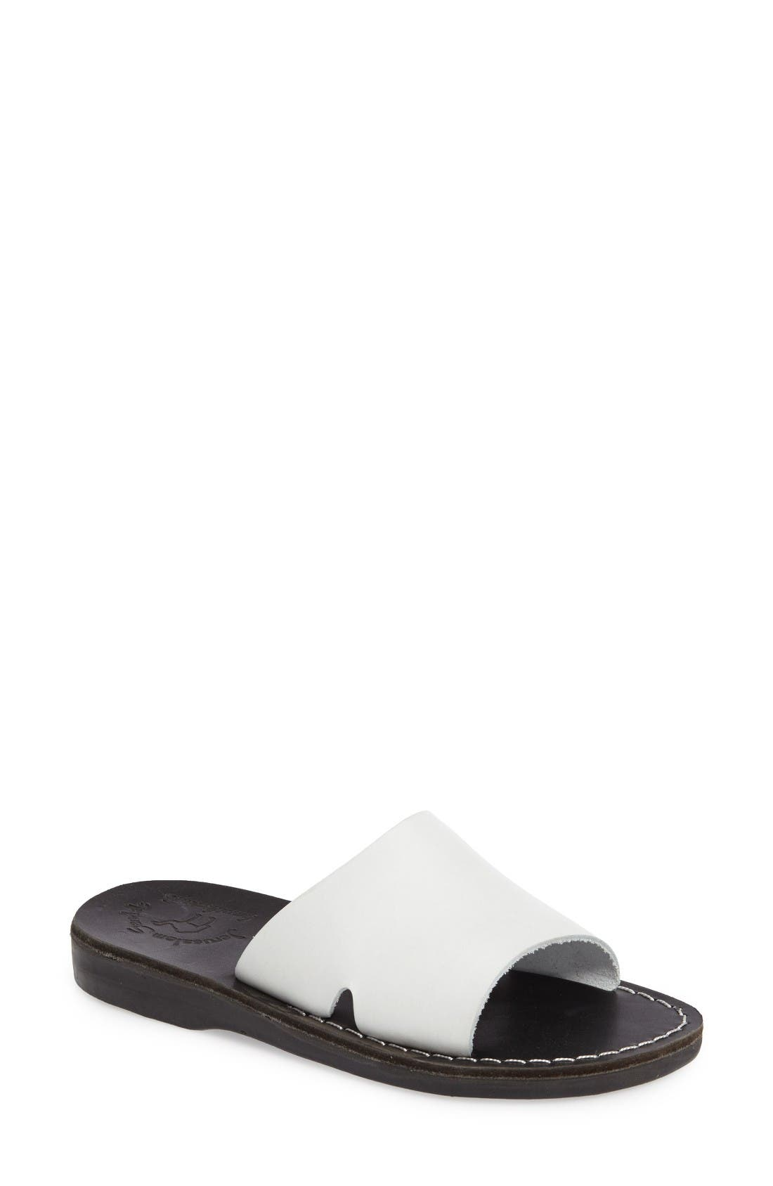 Bashan Open Toe Slide,                         Main,                         color, Black/ White Leather