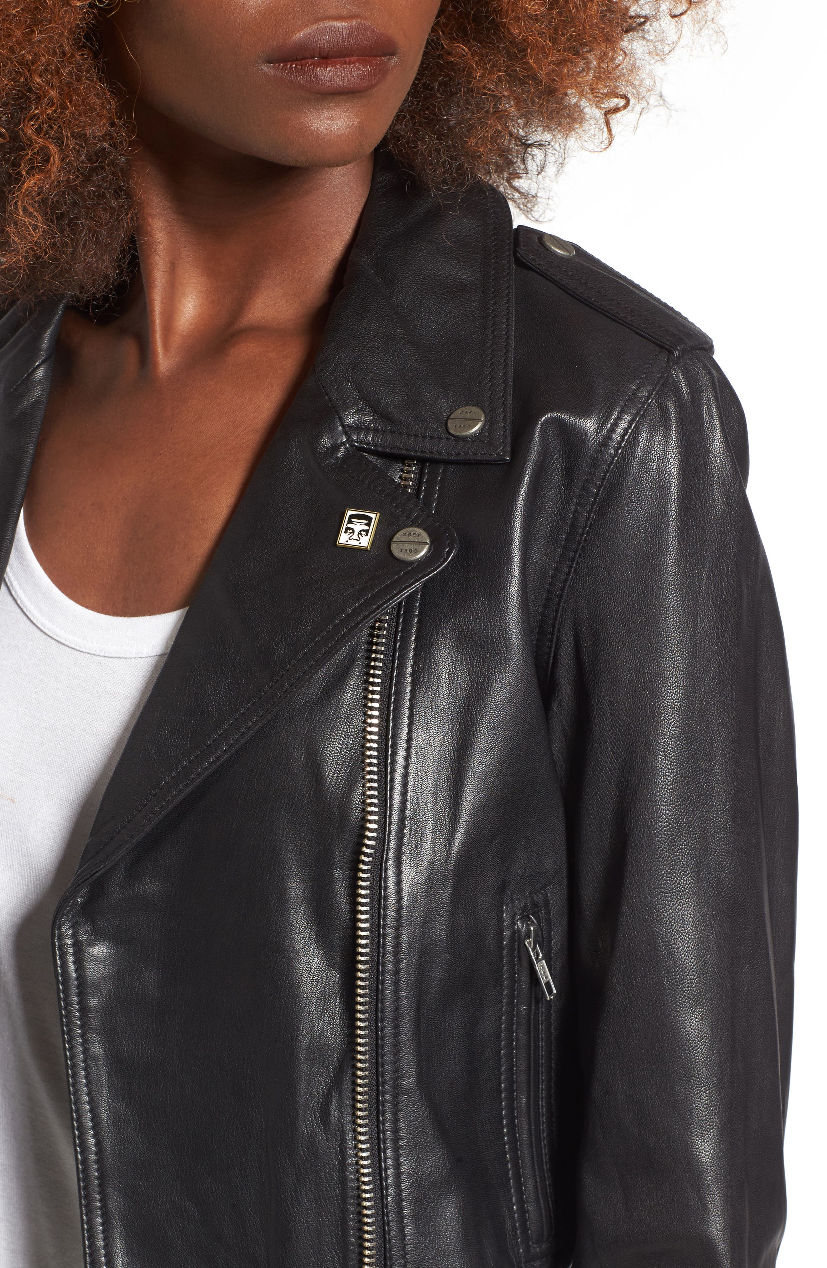 Diablo City Leather Moto Jacket,                             Alternate thumbnail 4, color,                             Black