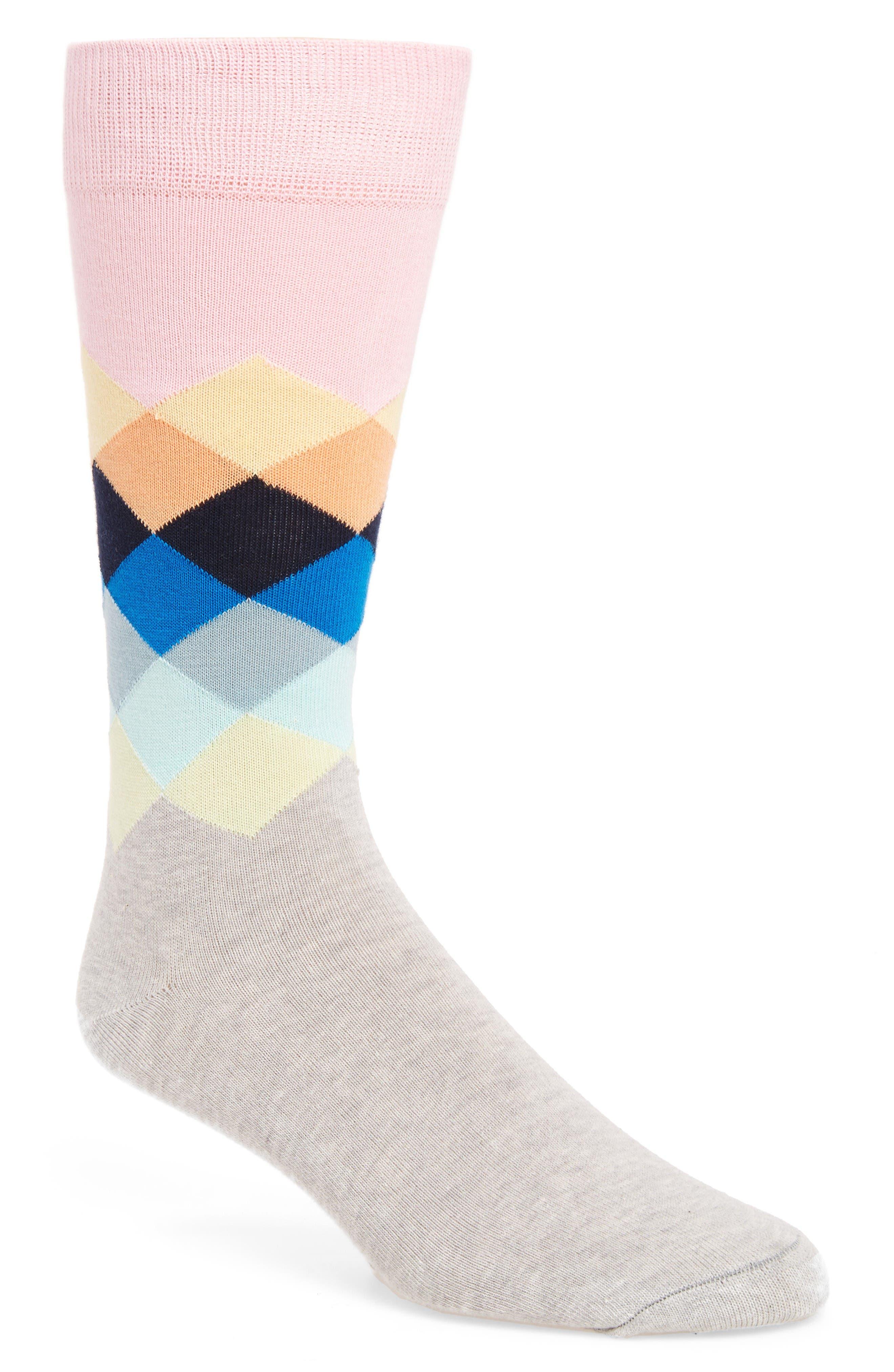 Diamond Socks,                         Main,                         color, Pastel Pink/ Blue