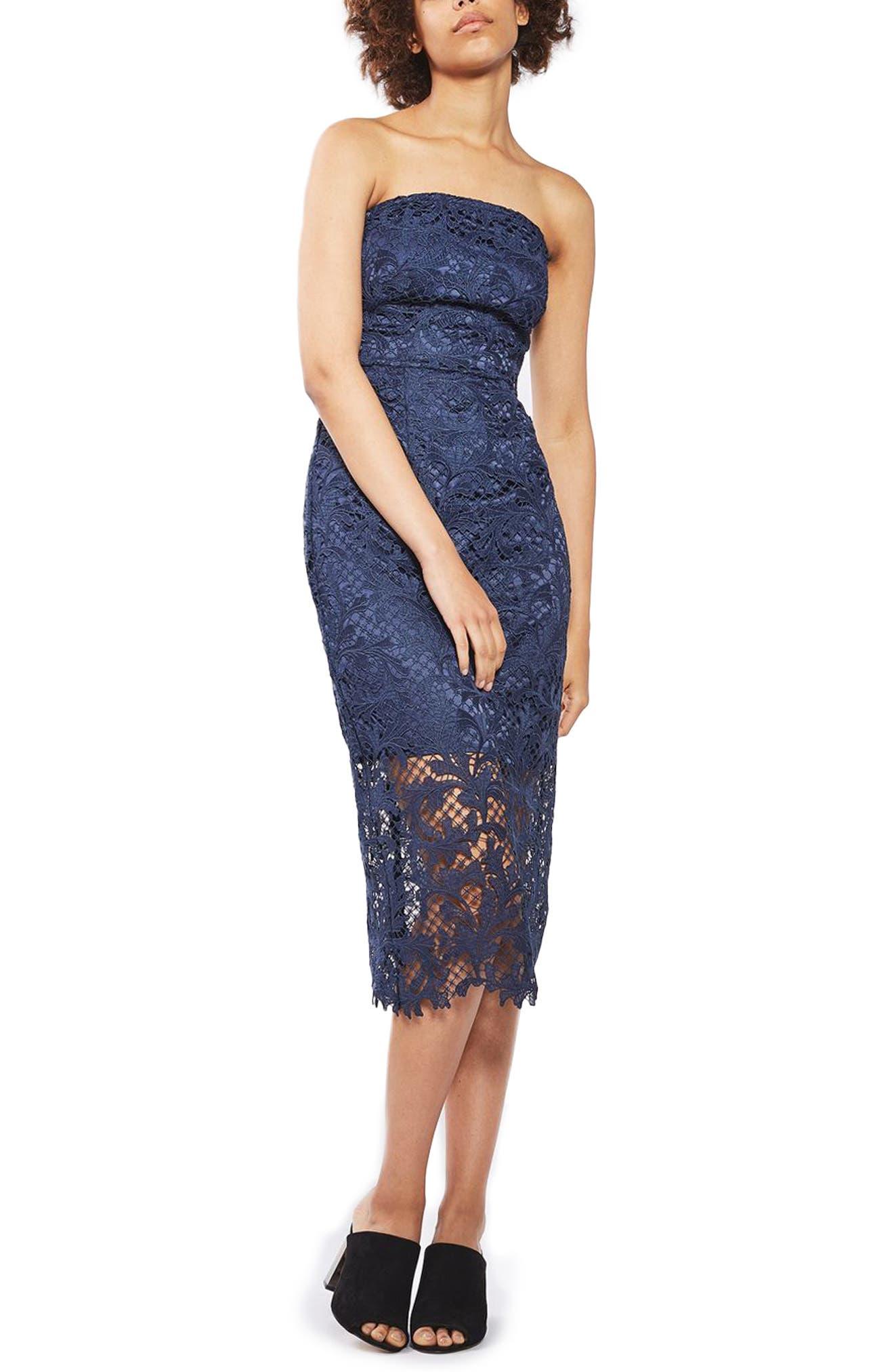 Main Image - Topshop Strapless Lace Midi Dress