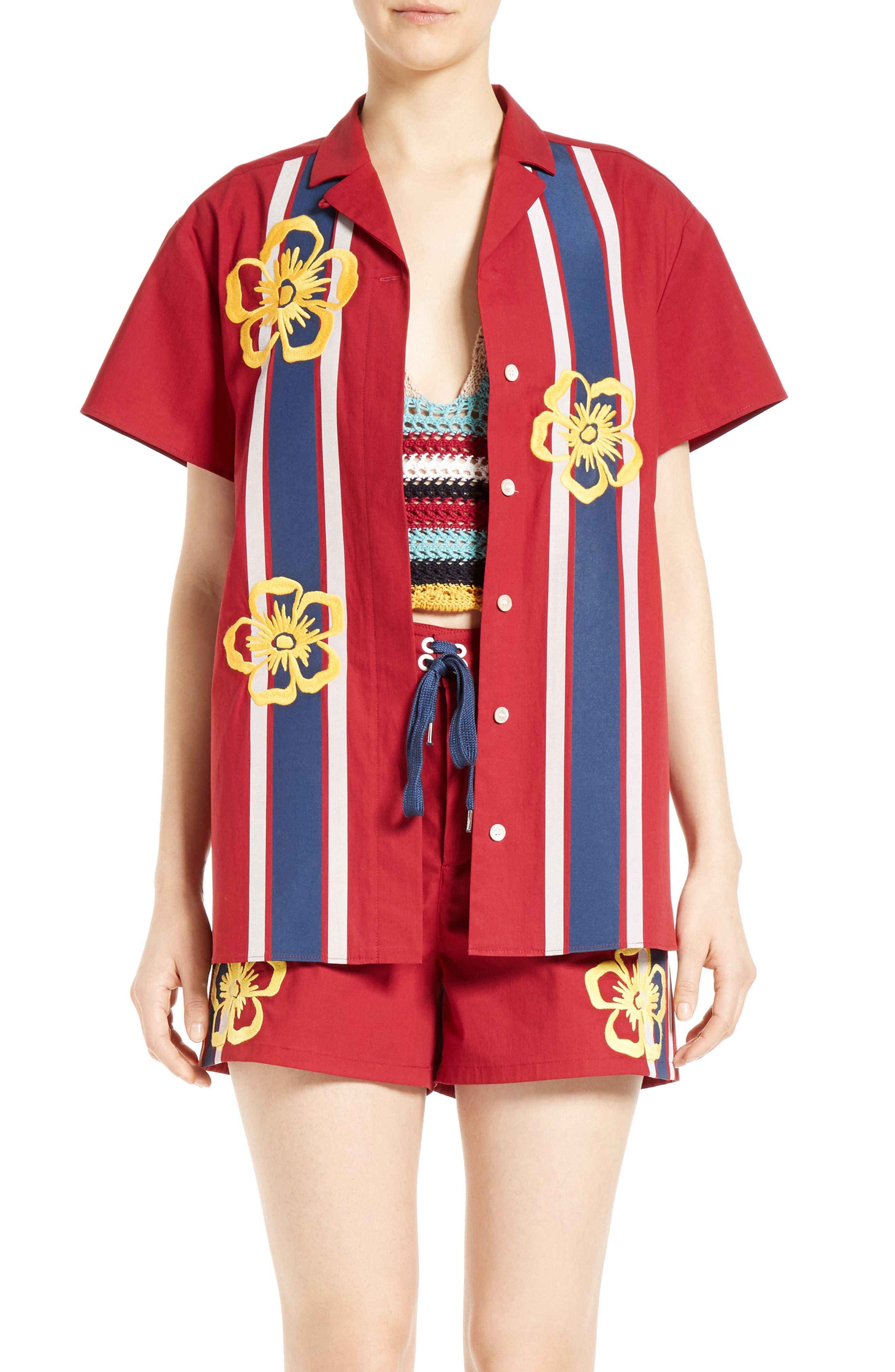 Surfboard Print Camp Shirt,                         Main,                         color, Cherry