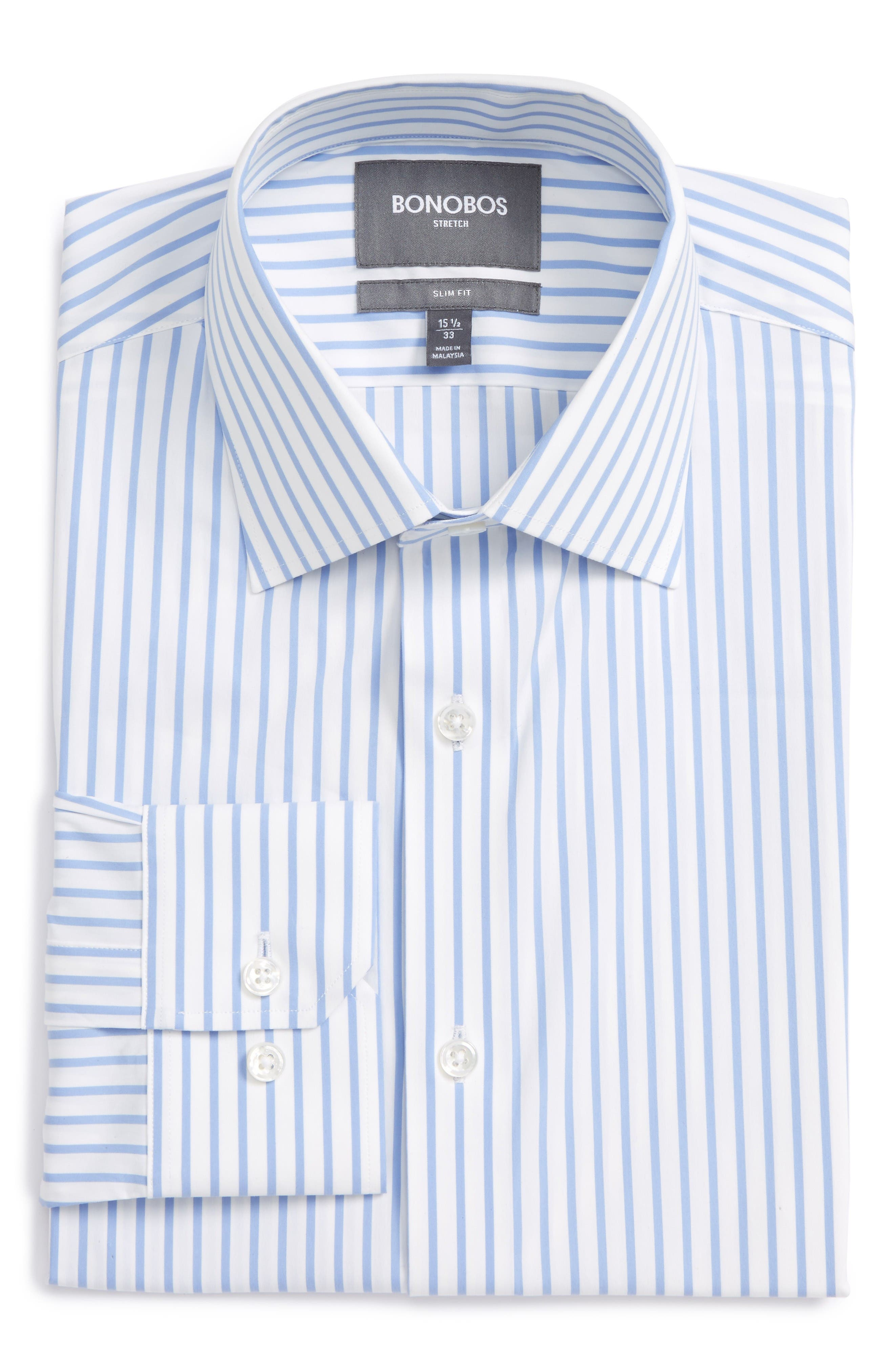 Jetstter Slim Fit Stripe Stretch Dress Shirt,                         Main,                         color, Blue Open Stripe