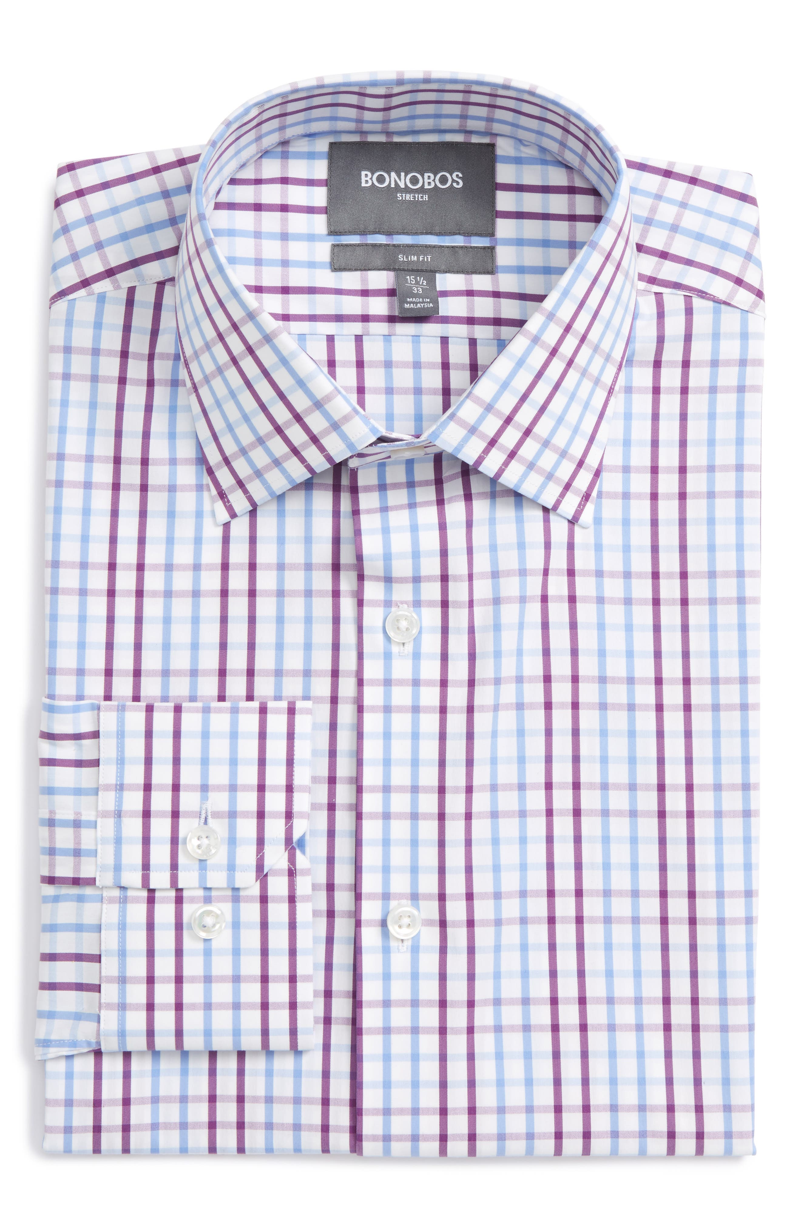 Jetsetter Slim Fit Check Dress Shirt,                             Main thumbnail 1, color,                             Purple Palmer