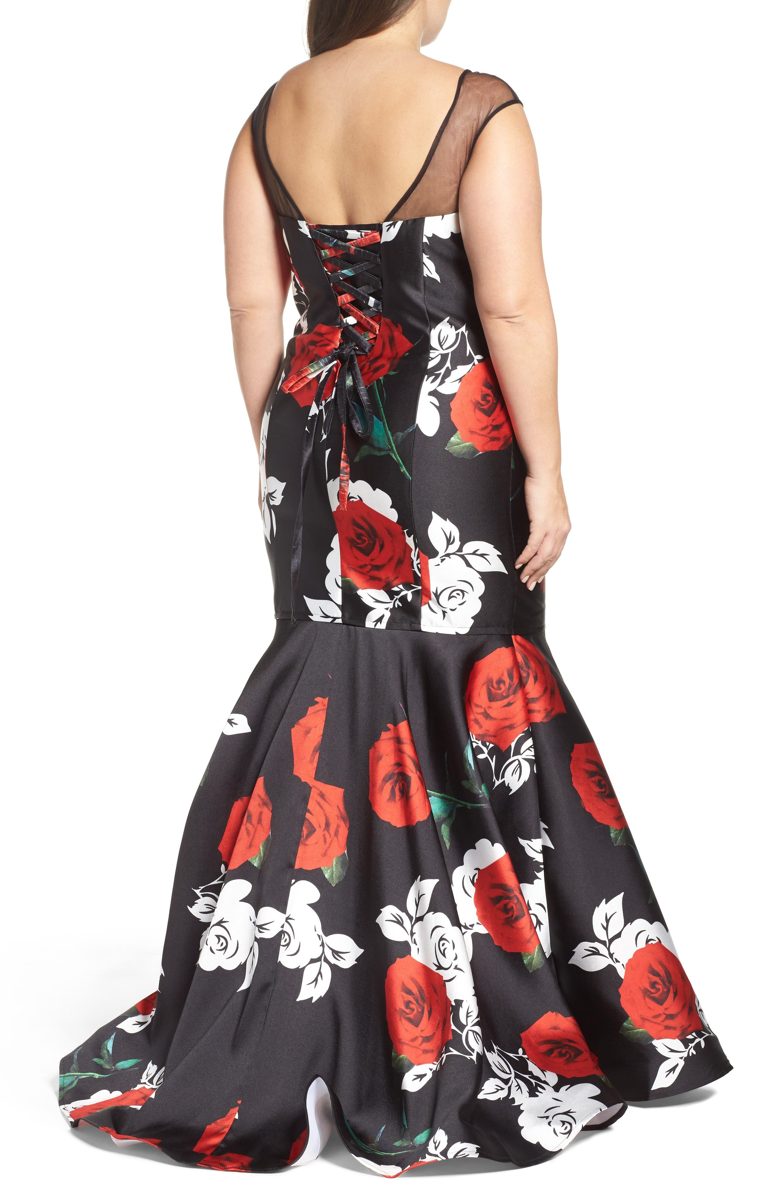 Alternate Image 2  - Mac Duggal Rose Print Mermaid Gown (Plus Size)