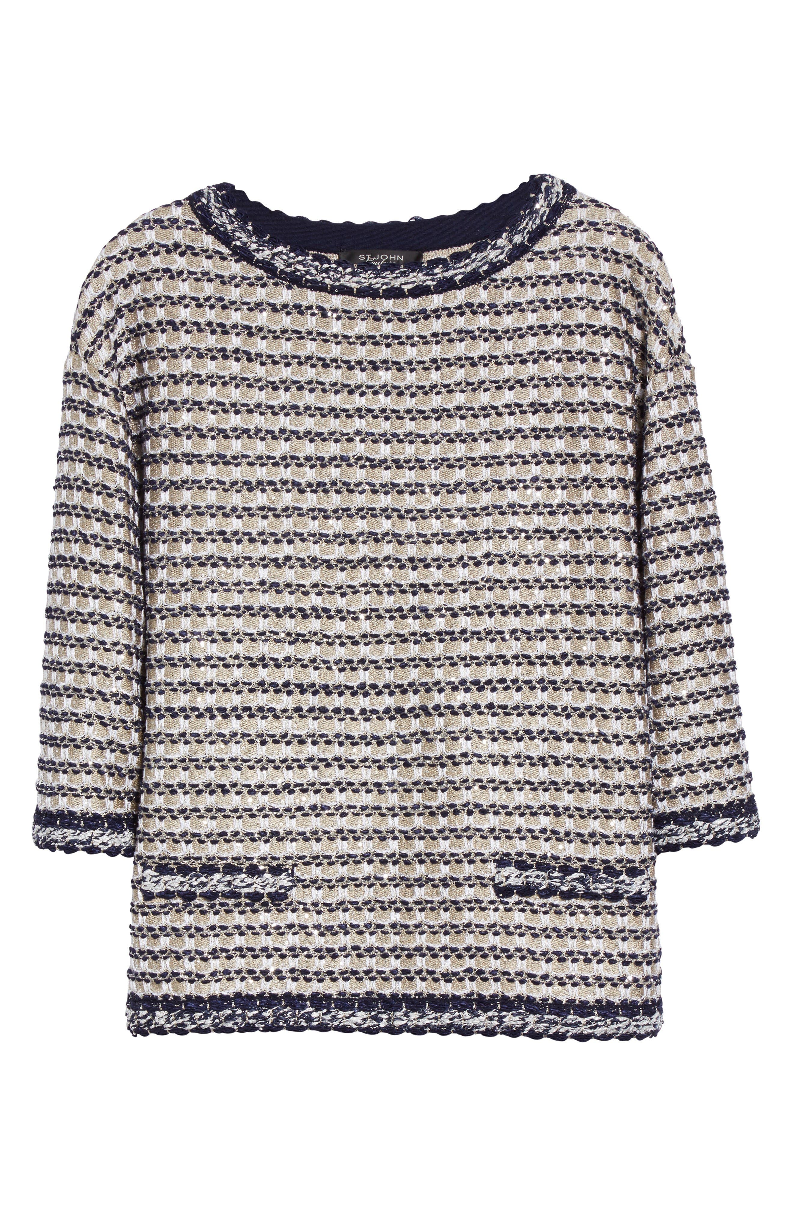 Vany Tweed Knit Top,                             Alternate thumbnail 7, color,                             Gold Multi