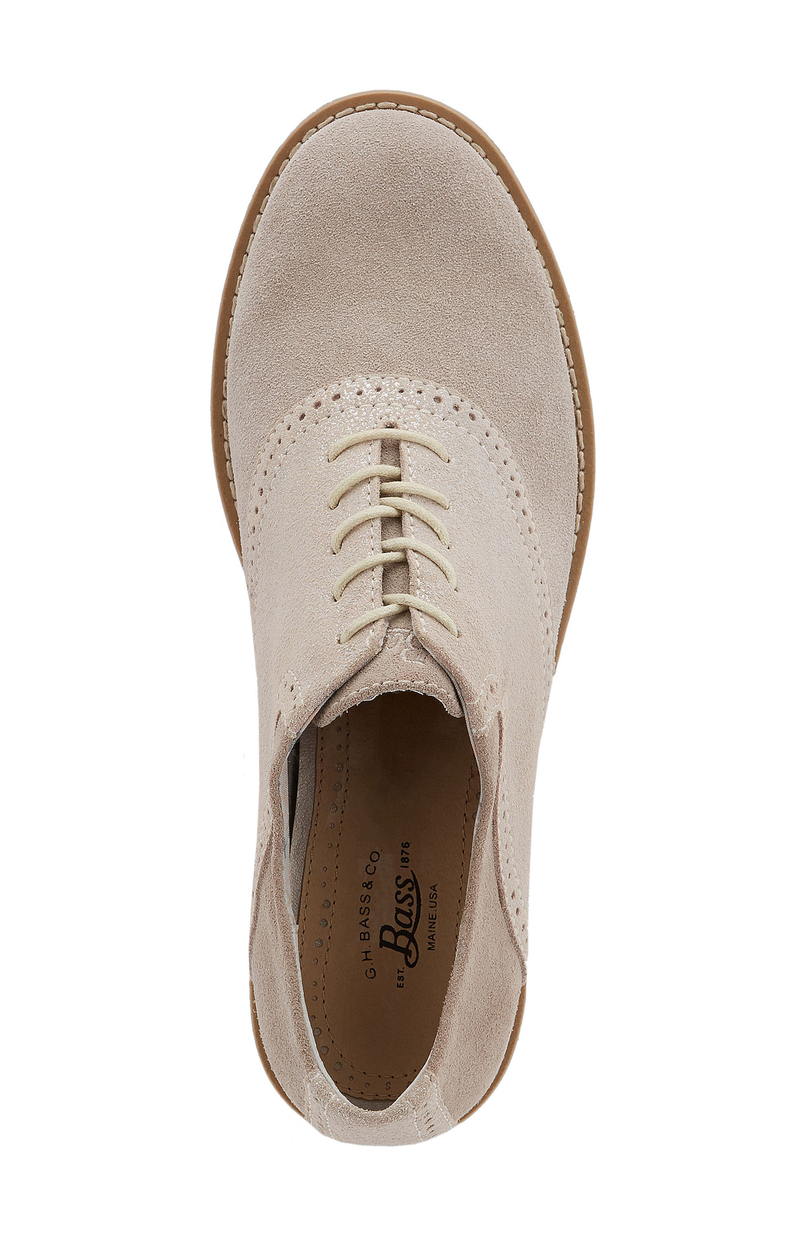 G.H. Bass and Co. Dora Lace-Up Oxford,                             Alternate thumbnail 3, color,                             Soft Grey/ Silver Suede