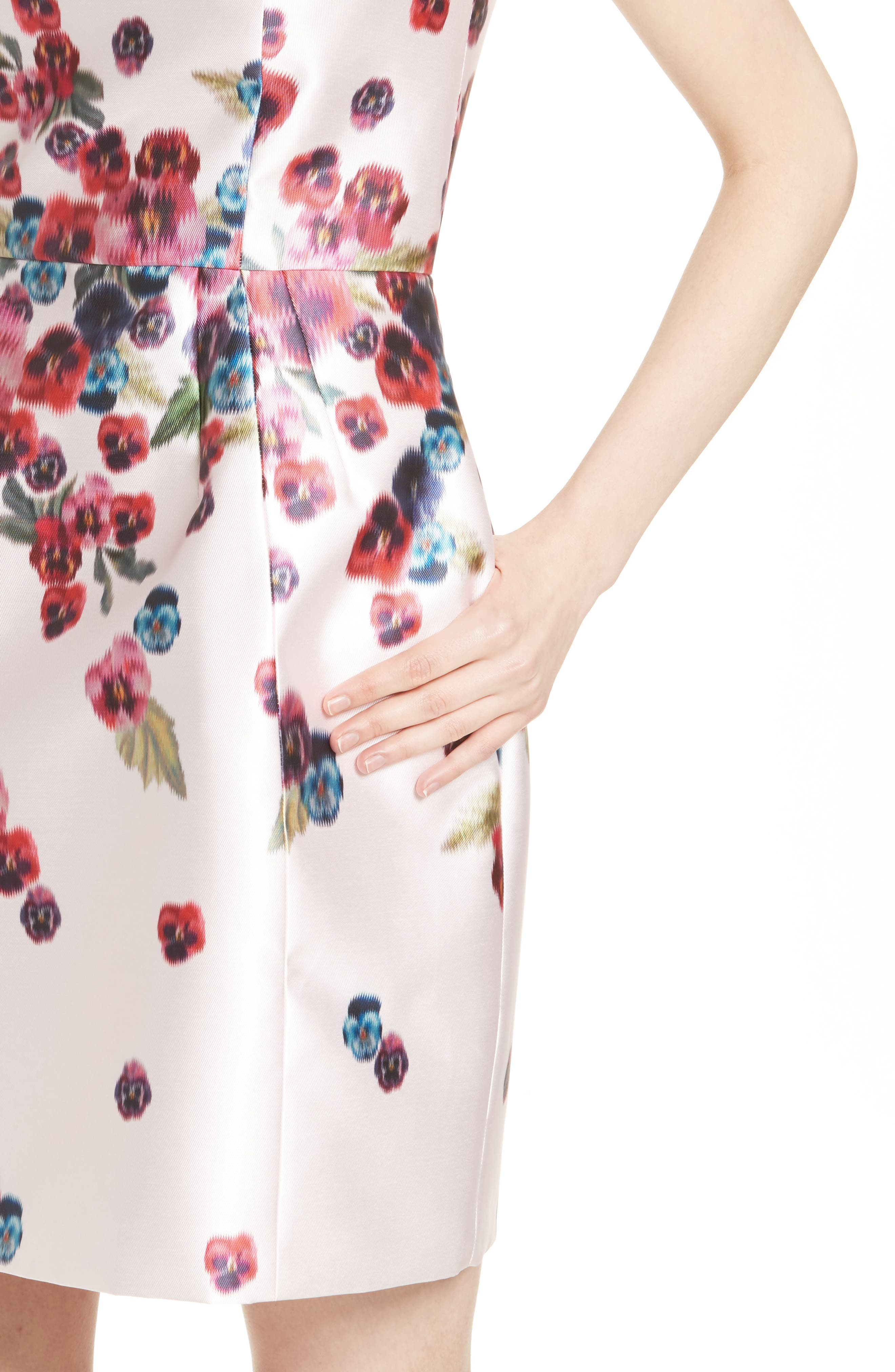 Ibia Floral Print Sheath Dress,                             Alternate thumbnail 4, color,                             Baby Pink