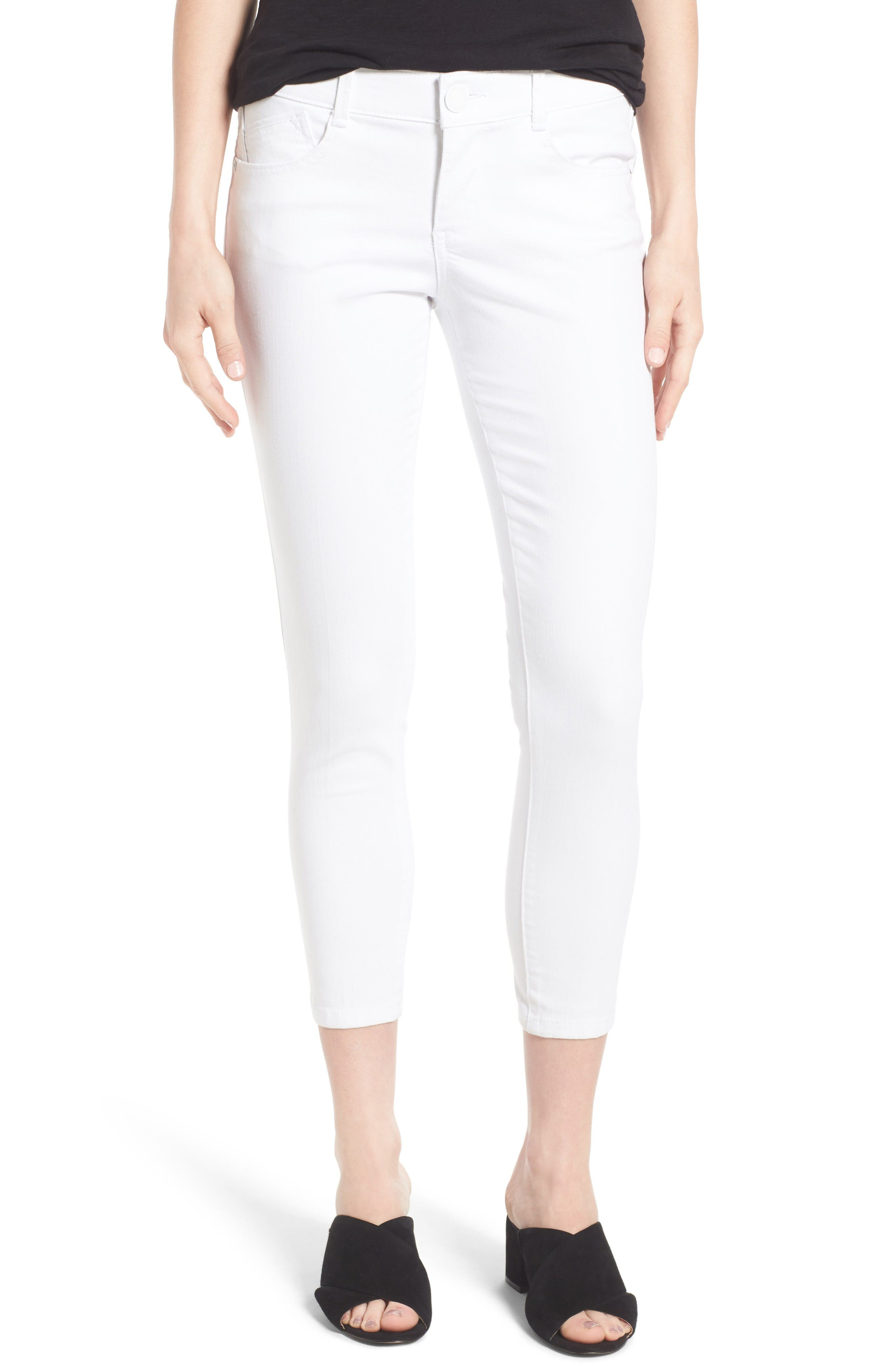 Ab-solution Skinny Crop Jeans,                         Main,                         color, Optic White