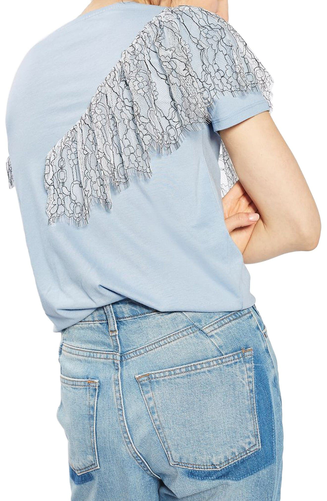 Alternate Image 3  - Topshop Lace Ruffle Tee