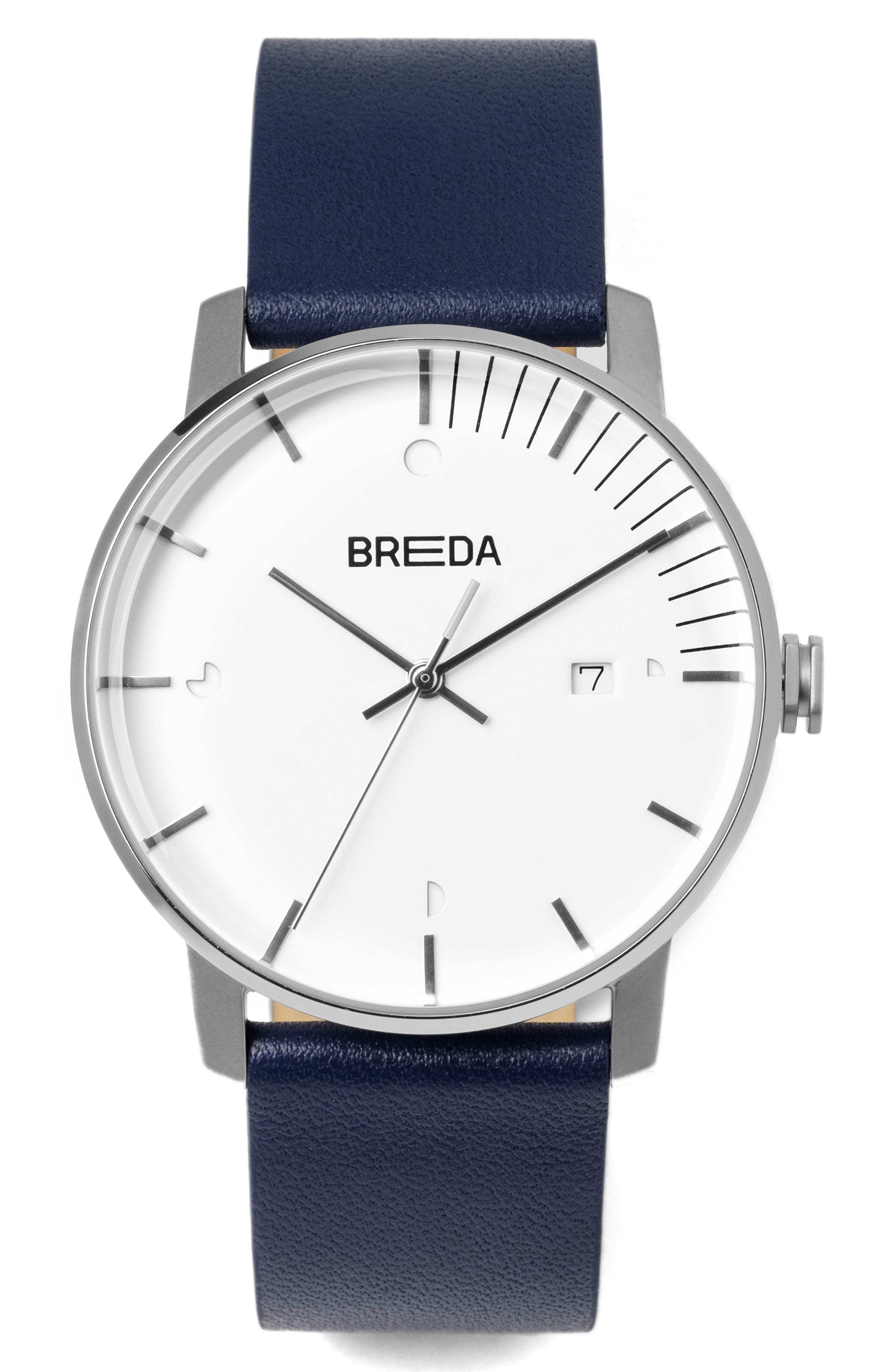 Phase Leather Strap Watch, 39mm,                         Main,                         color, Cool Grey/ Navy