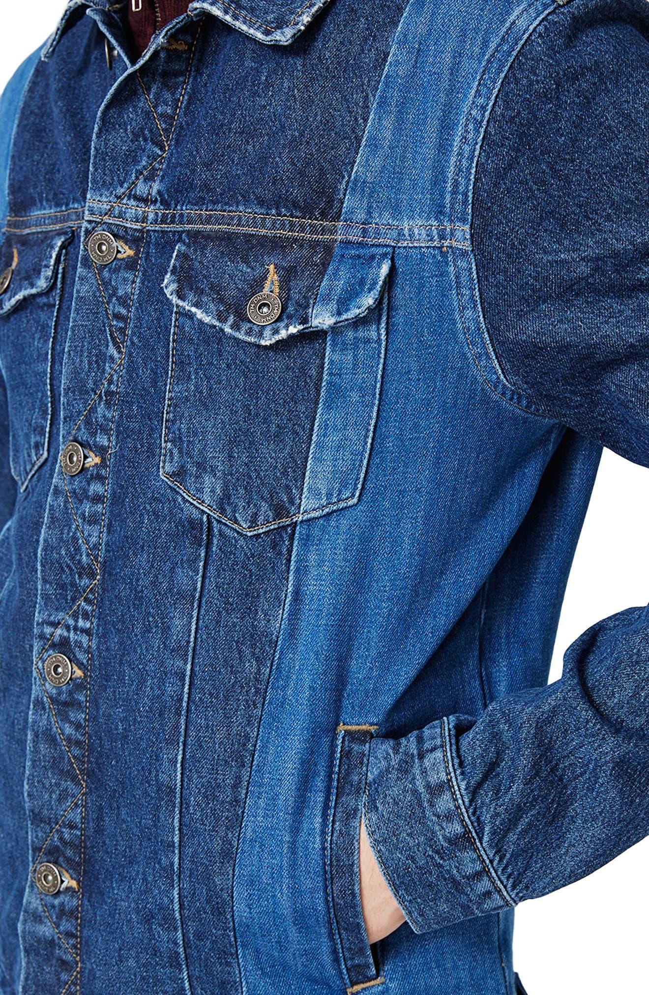 Alternate Image 4  - Topman Two-Tone Denim Jacket